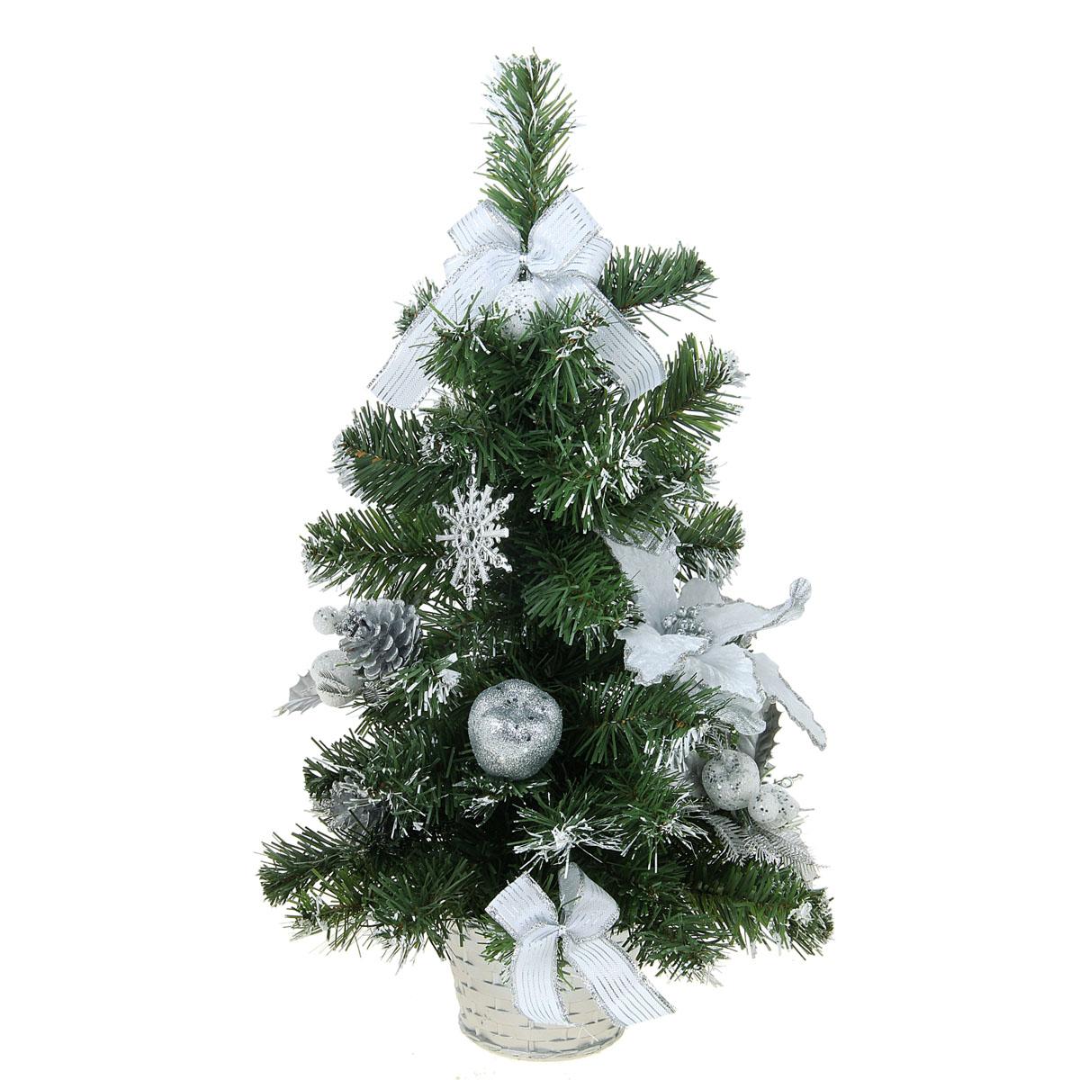 Декоративное украшение Sima-land Новогодняя елочка, цвет: серебристый, зеленый, высота 50 см. 706055706055Декоративное украшение Sima-land, выполненное из пластика - мини-елочка для оформления интерьера к Новому году. Ее не нужно ни собирать, ни наряжать, зато настроение праздника она создает очень быстро.Елка украшена текстильными бантами, шишками, шарами, блестками и снежинками. Елка украсит интерьер вашего дома или офиса к Новому году и создаст теплую и уютную атмосферу праздника.Откройте для себя удивительный мир сказок и грез. Почувствуйте волшебные минуты ожидания праздника, создайте новогоднее настроение вашим дорогим и близким.