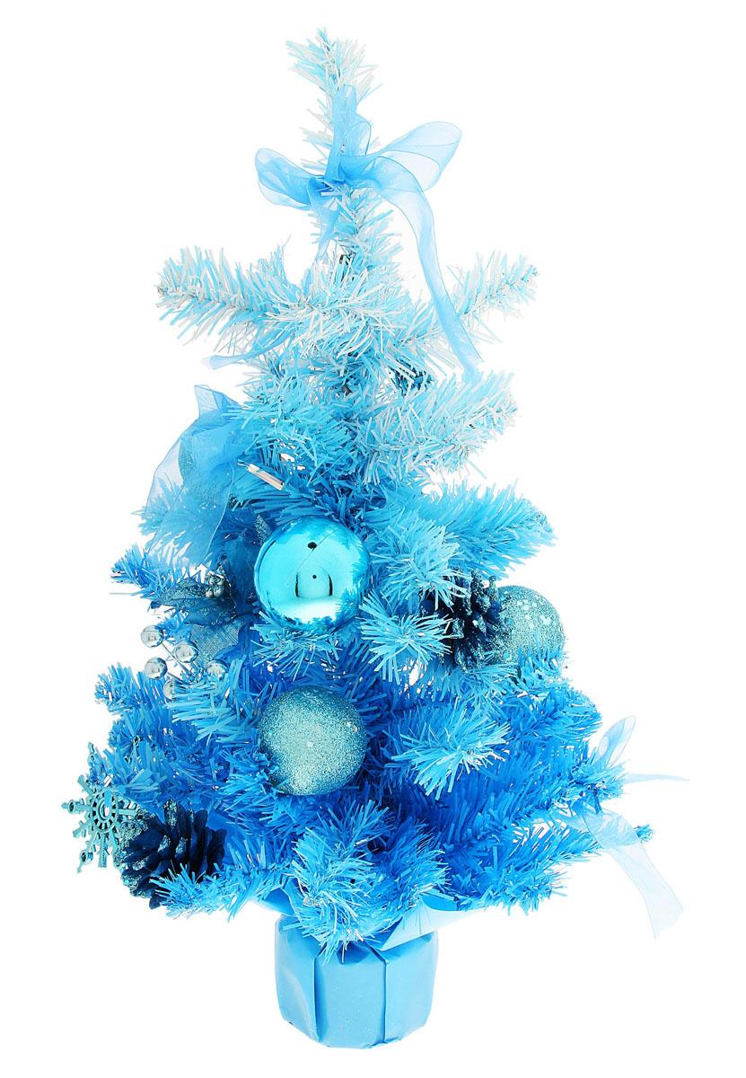 Декоративное украшение Sima-land Новогодняя елочка, цвет: голубой, высота 40 см. 717975717975Декоративное украшение Sima-land, выполненное из пластика - мини-елочкадля оформления интерьера к Новому году. Ее не нужно ни собирать, ни наряжать, зато настроение праздника она создает очень быстро.Елка украшена текстильными цветами и бантами, шишками, шарами, пластиковыми снежинками. Елка украсит интерьер вашего дома или офиса к Новому году и создаст теплую и уютную атмосферу праздника.Откройте для себя удивительный мир сказок и грез. Почувствуйте волшебные минуты ожидания праздника, создайте новогоднее настроение вашим дорогим и близким.