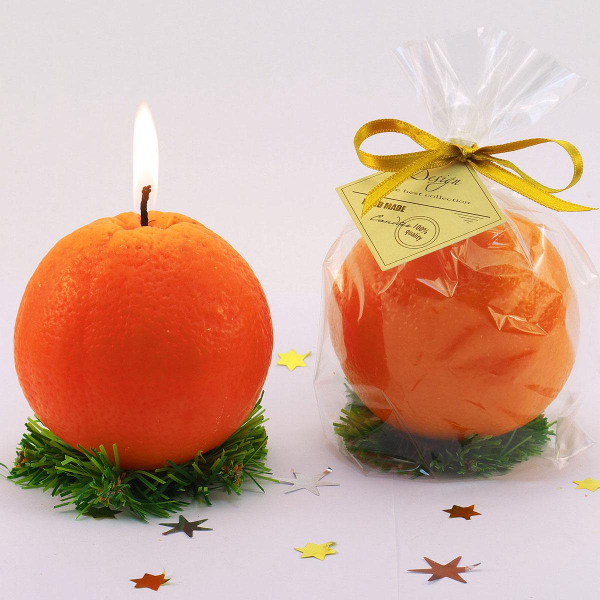 Декоративная свеча Новогодний апельсин. 769794769794Декоративная свеча Новогодний апельсин, изготовленная из парафина, выполнена в виде большого апельсина на веточке ели. Свеча будет вас радовать в новогоднюю ночь и достойно украсит интерьер. Вы можете поставить свечу в любом месте, где она будет удачно смотреться, и радовать глаз. Кроме того, эта свеча - отличный вариант подарка для ваших близких и друзей.Материал: парафин. Диаметр свечи: 9 см.