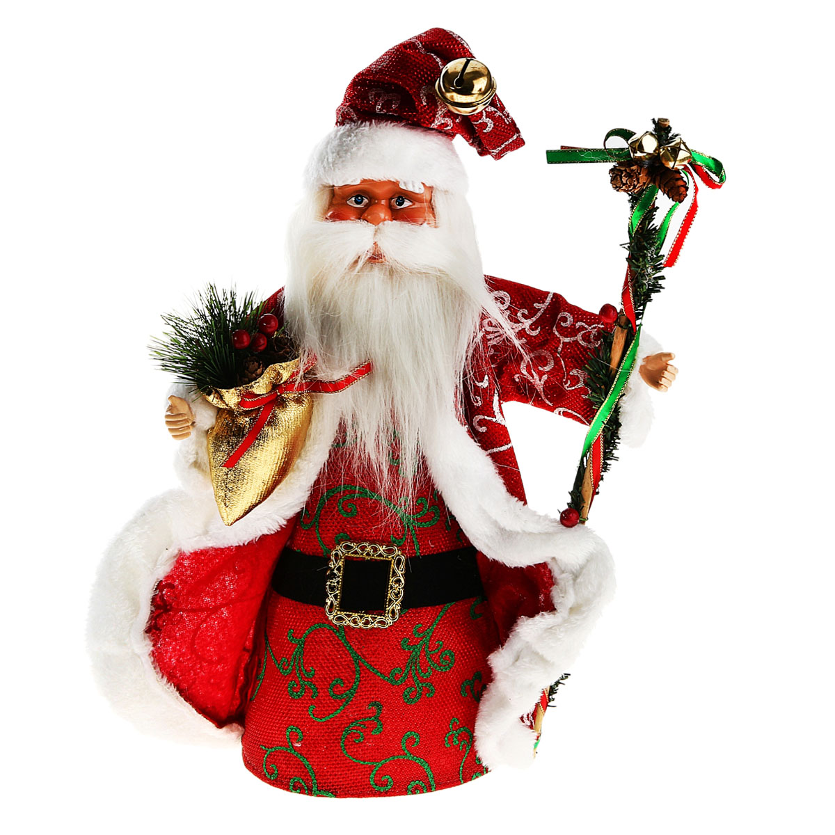 """Новогодняя декоративная фигурка выполнена из высококачественного пластика в виде Деда Мороза. Дед Мороз одет в шубу с опушкой и декорированную люрексом и орнаментом. На голове колпак в цвет шубы с бубенцом. В одной руке Дед Мороз держит мешок с сосновыми ветками и шишками, а в другой посох. Его добрый вид и очаровательная улыбка притягивают к себе восторженные взгляды. Декоративная фигурка """"Дед Мороз"""" подойдет для оформления новогоднего интерьера и принесет с собой атмосферу радости и веселья."""