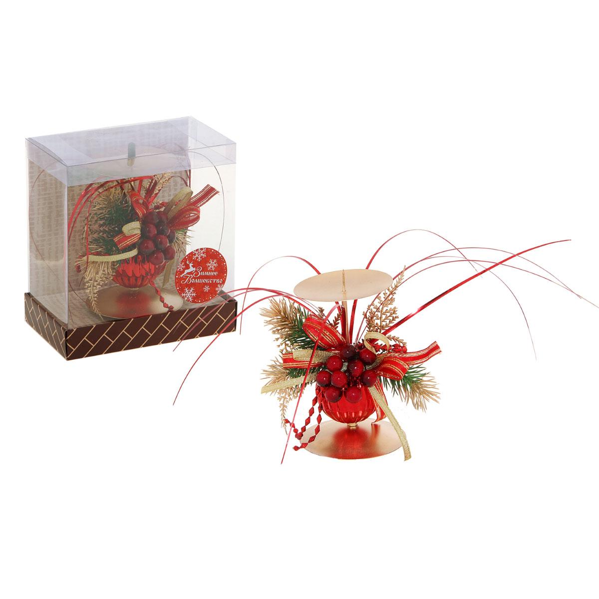 Подсвечник Sima-land Новогодний, цвет: красный, золотистый sima land антистрессовая игрушка заяц хрустик 05 цвет красный