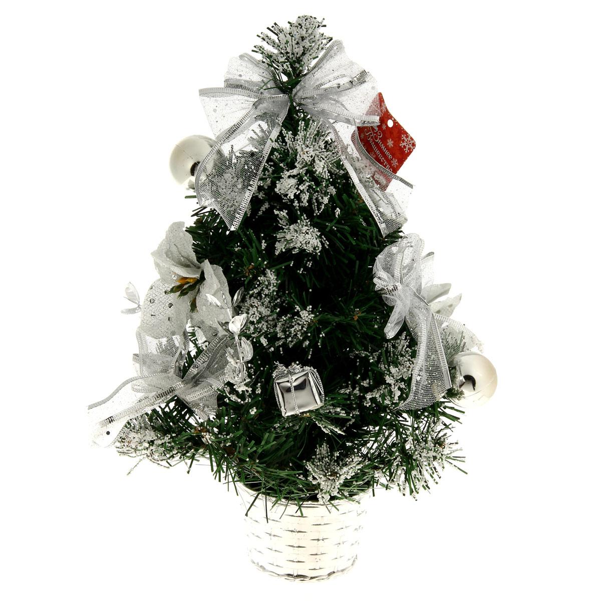 Декоративное украшение Sima-land Новогодняя елочка, цвет: серебристый, зеленый, высота 40 см. 819242819242Декоративное украшение Sima-land, выполненное из пластика - мини-елочка для оформления интерьера к Новому году. Ее не нужно ни собирать, ни наряжать, зато настроение праздника она создает очень быстро.Елка украшена текстильными бантами, шарами, цветами и белыми шариками в виде снега. Елка украсит интерьер вашего дома или офиса к Новому году и создаст теплую и уютную атмосферу праздника.Откройте для себя удивительный мир сказок и грез. Почувствуйте волшебные минуты ожидания праздника, создайте новогоднее настроение вашим дорогим и близким.