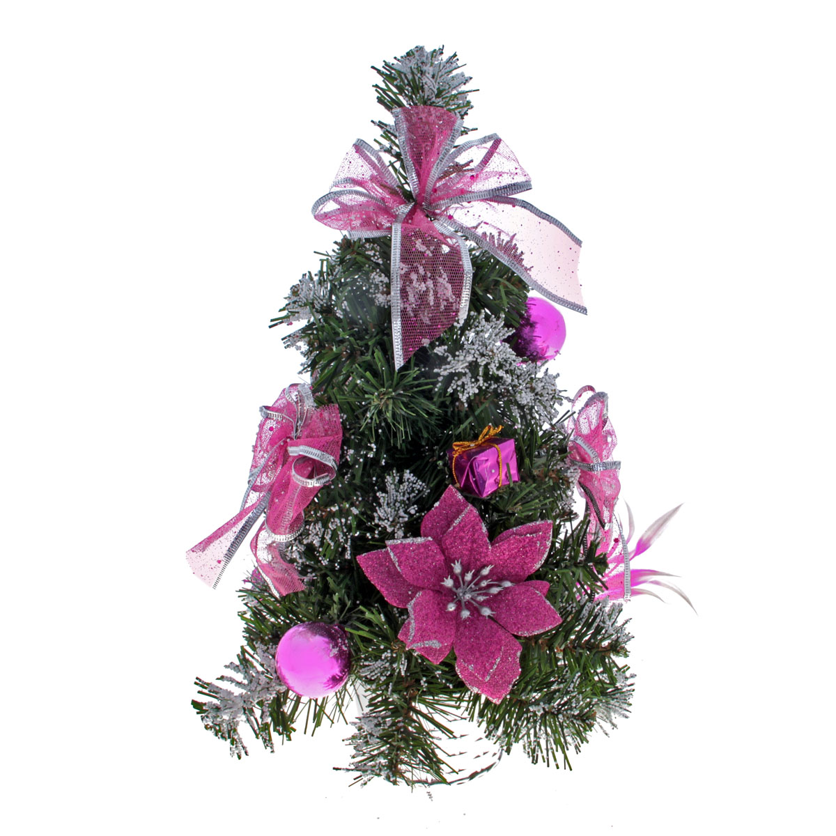 Декоративное украшение Sima-land Новогодняя елочка, цвет: зеленый, розовый, высота 33 см. 819258819258Декоративное украшение Sima-land, выполненное из пластика - мини-елочкадля оформления интерьера к Новому году. Ее не нужно ни собирать, ни наряжать, зато настроение праздника она создает очень быстро.Елка украшена бантами, текстильными цветами пуансетии, подарками, шарами, пластиковыми яблоками и грушами и искусственным снегом. Елка украсит интерьер вашего дома или офиса к Новому году и создаст теплую и уютную атмосферу праздника.Откройте для себя удивительный мир сказок и грез. Почувствуйте волшебные минуты ожидания праздника, создайте новогоднее настроение вашим дорогим и близким.