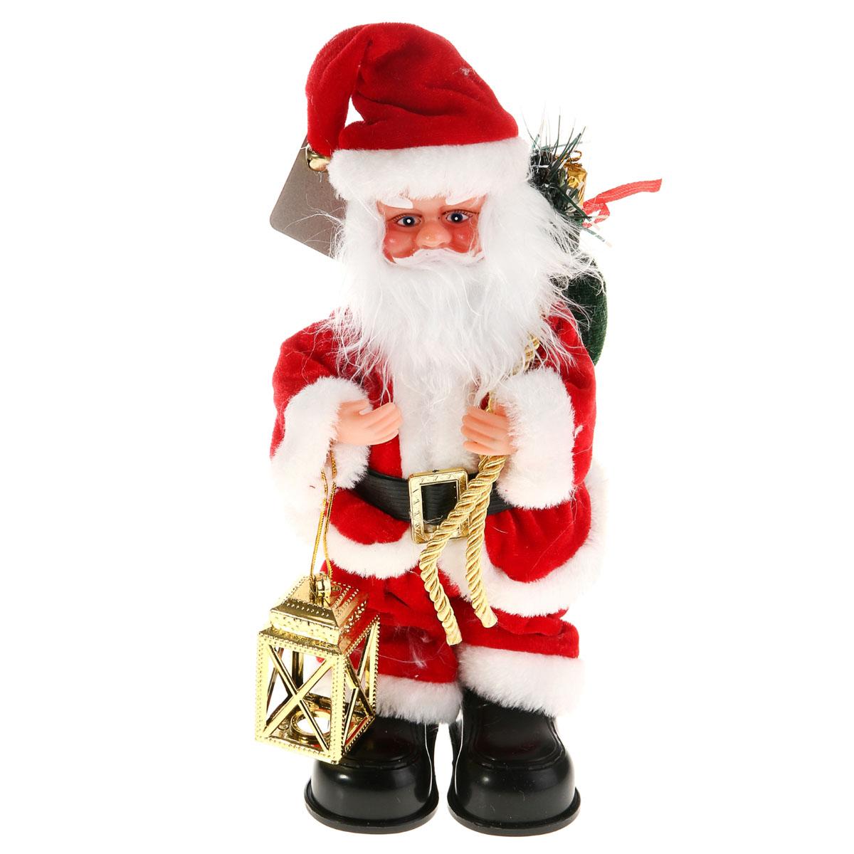 Новогодняя декоративная фигурка Sima-land Дед Мороз, анимированная, высота 28 см. 827819827819Новогодняя декоративная фигурка выполнена из высококачественного пластика в виде Деда Мороза. Дед Мороз одет в короткую шубу с опушкой, штаны и пластиковые сапоги. На голове колпак в цвет шубы с бубенцом. В одной руке Дед Мороз держит фонарь, а в другой мешок с подарками. Особенностью фигурки является наличие механизма, при включении которого играет мелодия, а кукла начинает шевелить руками и головой. Его добрый вид и очаровательная улыбка притягивают к себе восторженные взгляды. Декоративная фигурка Дед Мороз подойдет для оформления новогоднего интерьера и принесет с собой атмосферу радости и веселья. УВАЖАЕМЫЕ КЛИЕНТЫ!Обращаем ваше внимание на тот факт, что декоративная фигурка работает от двух батареек типа АА/R6/UM-3 напряжением 1,5V. Батарейки в комплект не входят.