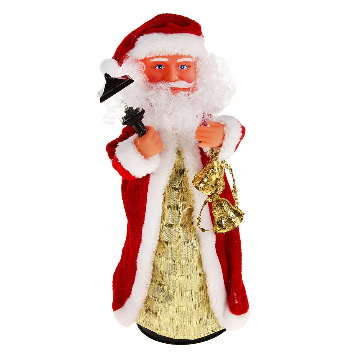 Новогодняя декоративная фигурка Sima-land Дед Мороз, анимированная, высота 28 см. 827831827831Новогодняя декоративная фигурка выполнена из высококачественного пластика в виде Деда Мороза. Дед Мороз одет в шубу с опушкой. На голове колпак в цвет шубы. В одной руке Дед Мороз держит фонарик, а в другой колокольчики. Особенностью фигурки является наличие механизма, при включении которого играет мелодия, фонарик светится, а кукла начинает крутиться вокруг своей оси, шевеля руками и головой. Его добрый вид и очаровательная улыбка притягивают к себе восторженные взгляды. Декоративная фигурка Дед Мороз подойдет для оформления новогоднего интерьера и принесет с собой атмосферу радости и веселья. УВАЖАЕМЫЕ КЛИЕНТЫ!Обращаем ваше внимание на тот факт, что декоративная фигурка работает от трех батареек типа АА/R6/UM-3 напряжением 1,5V. Батарейки в комплект не входят.