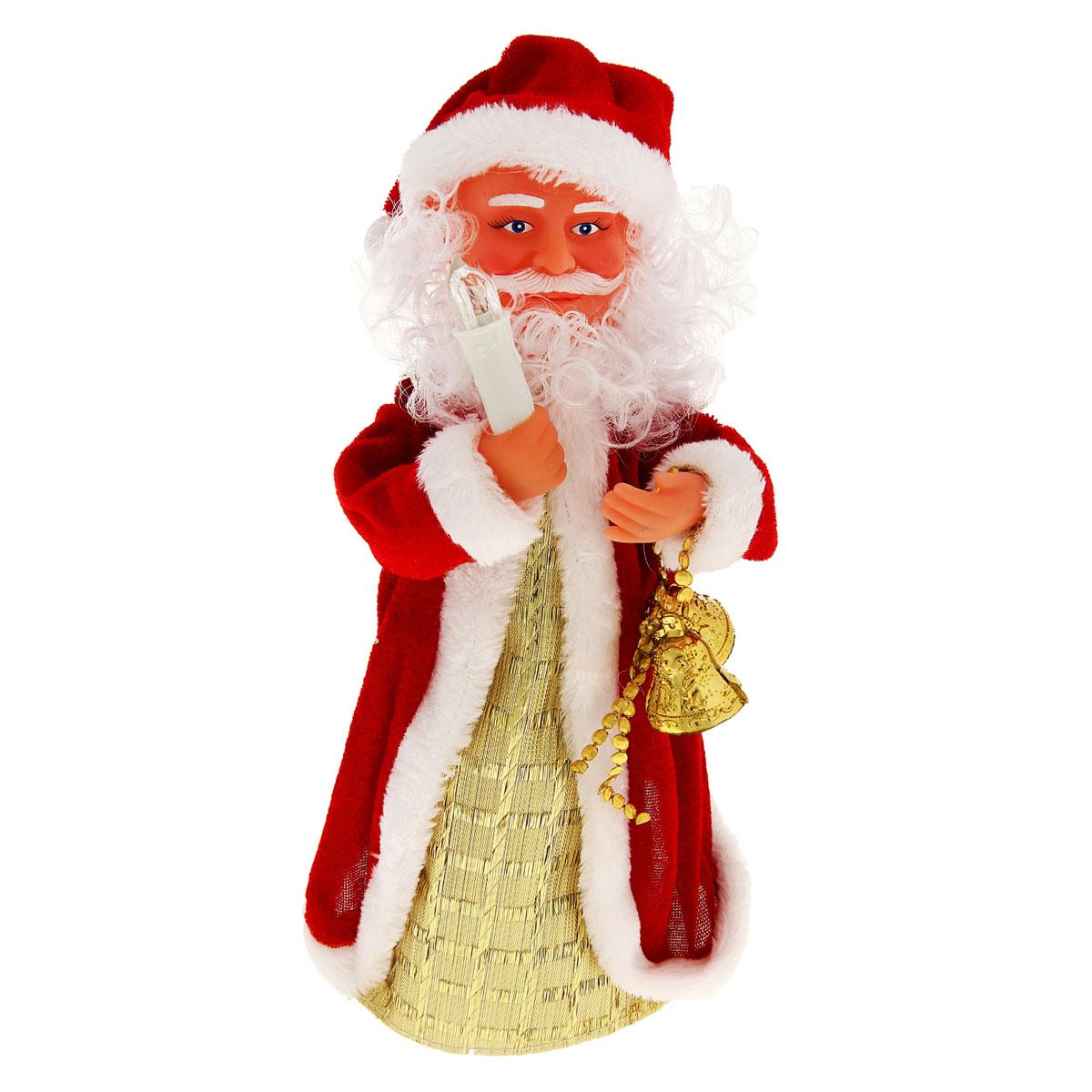 Новогодняя декоративная фигурка Sima-land Дед Мороз, анимированная, высота 28 см. 827832827832Новогодняя декоративная фигурка выполнена из высококачественного пластика в виде Деда Мороза. Дед Мороз одет в шубу с опушкой. На голове колпак в цвет шубы. В одной руке Дед Мороз держит свечку, а в другой колокольчики. Особенностью фигурки является наличие механизма, при включении которого играет мелодия, свечка светится, а кукла начинает крутиться вокруг своей оси, шевеля руками и головой. Его добрый вид и очаровательная улыбка притягивают к себе восторженные взгляды. Декоративная фигурка Дед Мороз подойдет для оформления новогоднего интерьера и принесет с собой атмосферу радости и веселья. УВАЖАЕМЫЕ КЛИЕНТЫ!Обращаем ваше внимание на тот факт, что декоративная фигурка работает от трех батареек типа АА/R6/UM-3 напряжением 1,5V. Батарейки в комплект не входят.