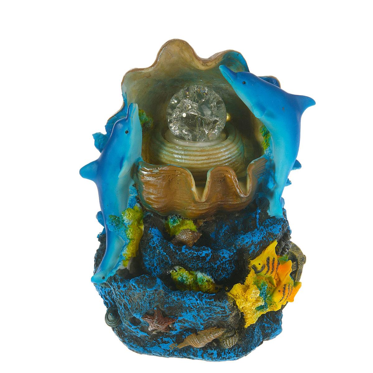 Фонтан Sima-land Морской: рыбки и ракушка851692Фонтан Sima-land Морской: рыбки и ракушка изготовлен из высококачественного полистоуна. Фонтан выполнен в виде композиции из дельфинов, рыбок и ракушки. Журчание и вид воды, стекающей струями из миниатюрного фонтана, могут изменить облик вашего дома и сада, создавая атмосферу покоя. Вода в фонтане циркулирует при помощи электрического погружного центробежного насоса, входящего в комплект. Интерьерный фонтан хорошо увлажняет воздух, благотворно воздействуя на наш организм и создавая здоровый климат. УВАЖАЕМЫЕ КЛИЕНТЫ! Обращаем ваше внимание на то, что фонтан работает от сети 220V.