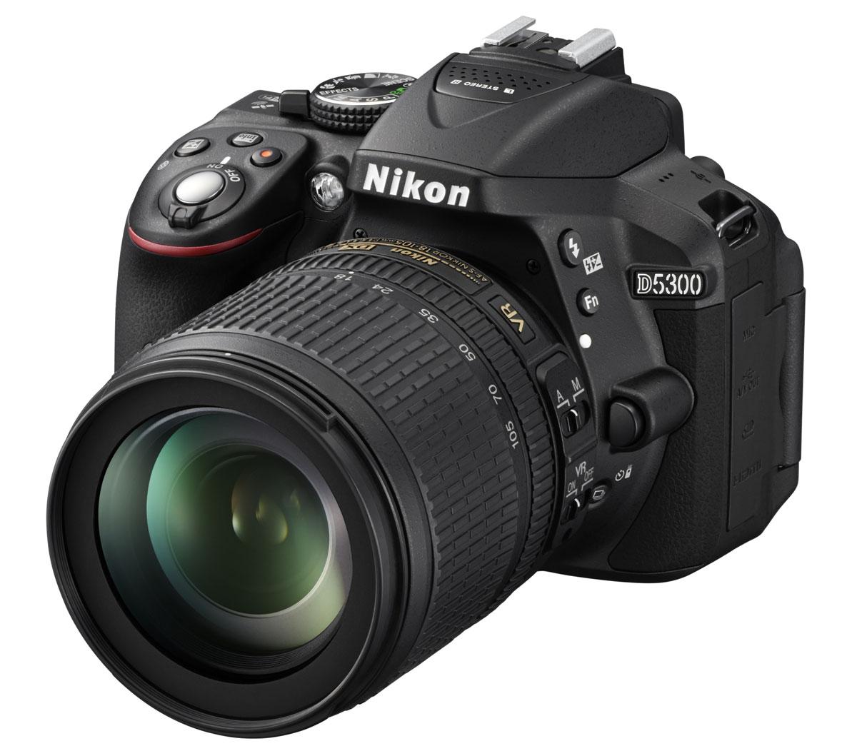Nikon D5300 Kit 18-105 VR, Black цифровая зеркальная фотокамера зеркальный цифровой фотоаппарат nikon d5300 18 105 vr kit black