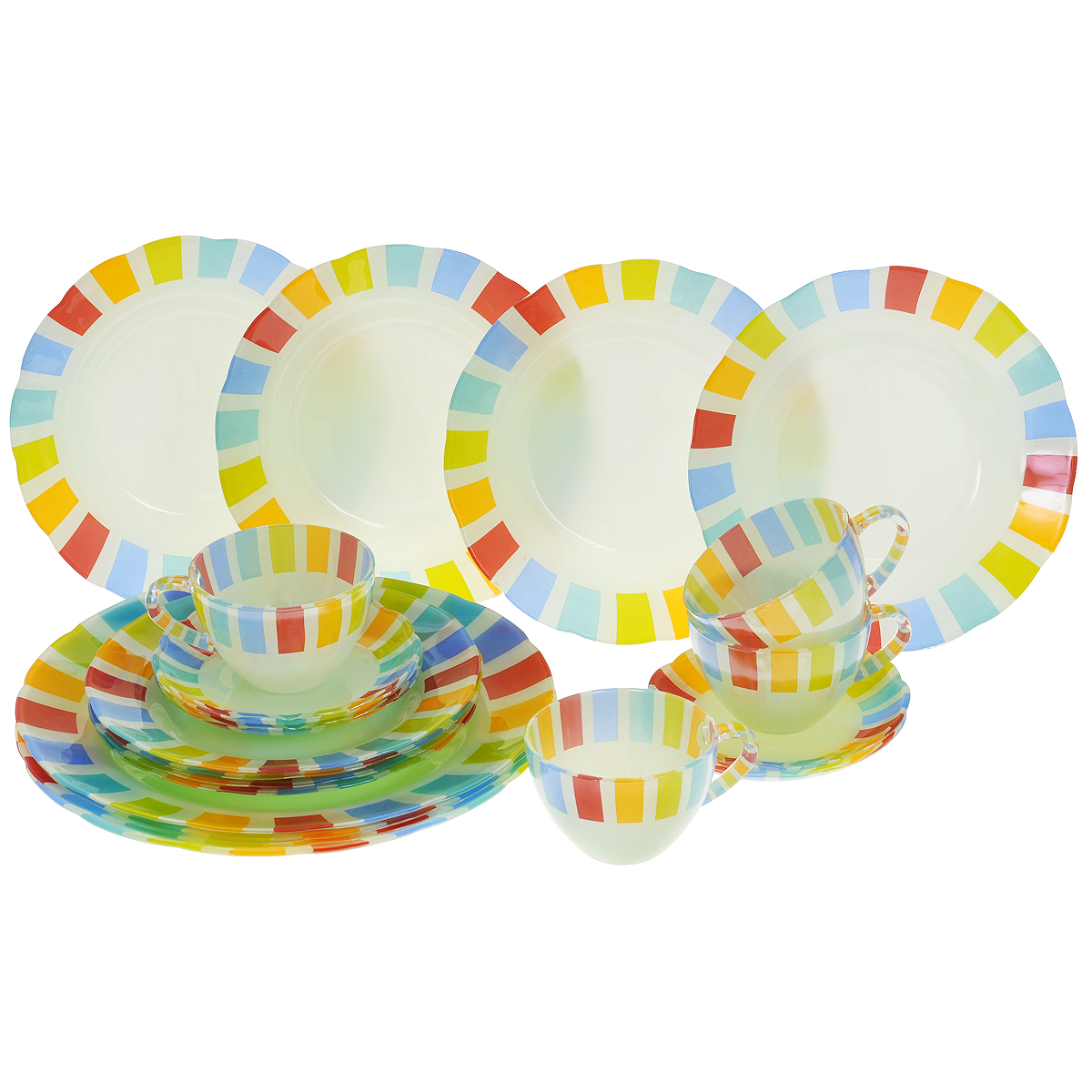 Набор посуды Радуга, 20 предметов14051Набор посуды Радуга состоит из 4 суповых тарелок, 4 обеденных тарелок, 4 десертных тарелок, 4 блюдец, 4 чашек. Изделия выполнены из высококачественного стекла и оформлены яркой разноцветной каймой. Столовый набор эффектно украсит стол к обеду, а также прекрасно подойдет для торжественных случаев.