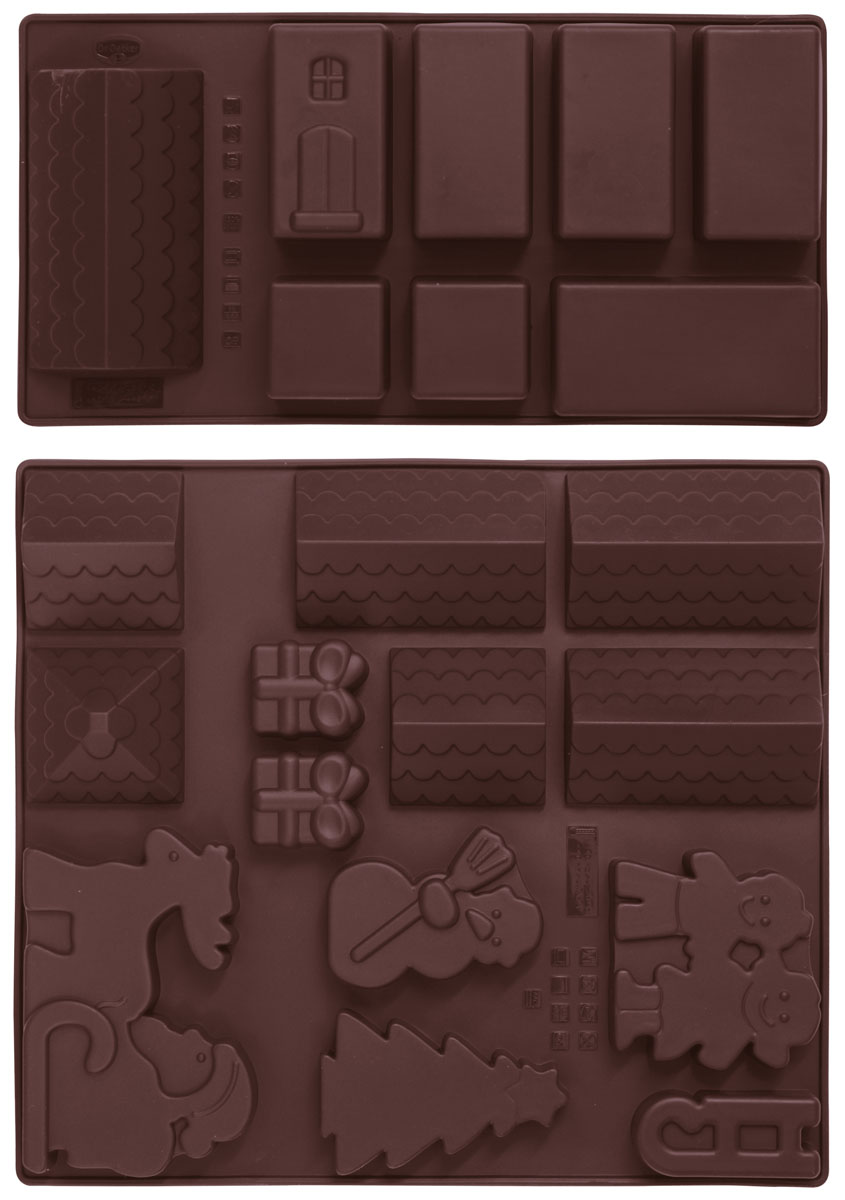 Набор форм для выпечки Dr.Oetker Winter Village, цвет коричневый, 2 шт1597Набор Dr.Oetker Winter Village, состоящий из 2 форм, будет отличным выбором для всех любителей выпечки. Благодаря тому, что формы изготовлены из силикона, готовую выпечку вынимать легко и просто. Изделия выполнены в форме прямоугольников, внутри которых расположена 21 ячейка в виде домиков, крыш, пряничного человечка, Деда Мороза на санях, елочки, Снеговика и подарков. Формы прекрасно подходят для выпечки различных десертов. С такой формой вы всегда сможете порадовать своих близких оригинальной выпечкой. Материал изделия устойчив к фруктовым кислотам, может быть использован в духовках, микроволновых печах, холодильниках и морозильных камерах (выдерживает температуру от -25°C до 250°C). Антипригарные свойства материала позволяют готовить без использования масла.Можно мыть и сушить в посудомоечной машине. При работе с формами используйте кухонный инструмент из силикона - кисти, лопатки, скребки. Не ставьте формы на электрическую конфорку. Не разрезайте выпечку прямо в формах.
