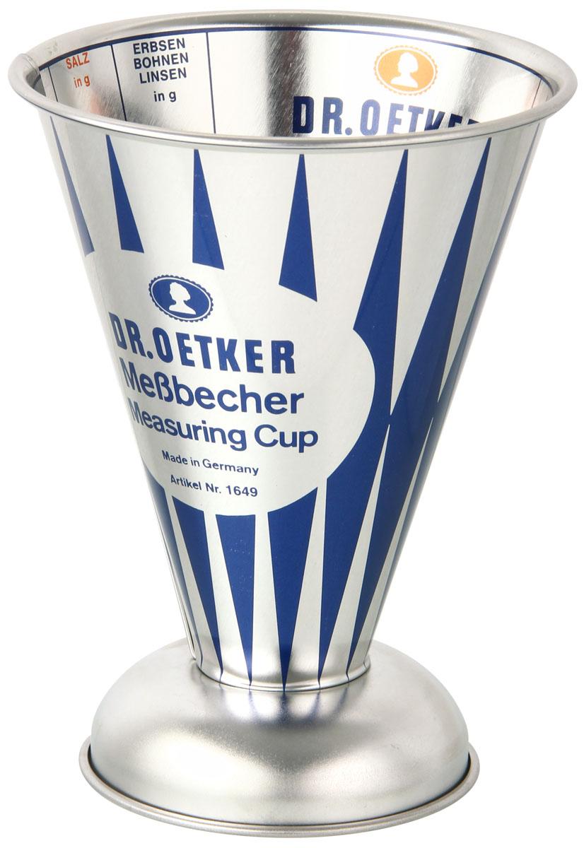 Стакан мерный Zenker Ностальгия, 0,5 л1649Мерный стакан Zenker Ностальгия выполнен из нержавеющей стали в форме конуса на подставке. Он предназначен для измерения объемов кулинарных смесей. Шкалы подписаны внутри стакана в граммах и литрах.Такой стаканчик пригодится на каждой кухне, ведь зачастую приготовление некоторых блюд требует известной точности.