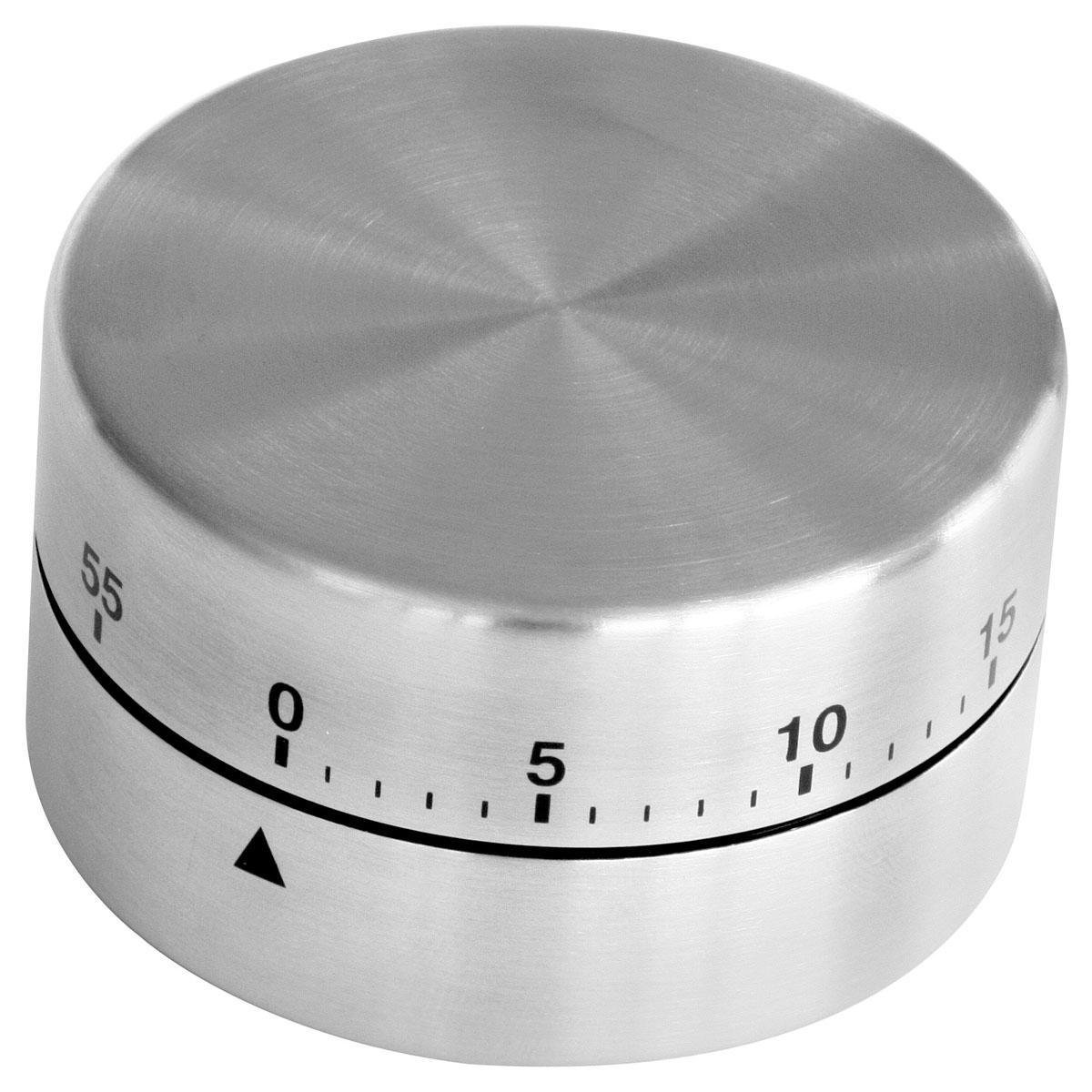 """Таймер кухонный """"Zenker"""" изготовлен из нержавеющей стали. Максимальное  время, на которое вы можете поставить таймер, составляет 60 минут. После того,  как время истечет, таймер громко зазвенит.  Оригинальный дизайн таймера украсит интерьер любой современной кухни, и  теперь вы сможете без труда  вскипятить молоко, отварить пельмени или вовремя вынуть из духовки  аппетитный пирог.  Диаметр таймера: 6 см. Высота корпуса: 4 см."""