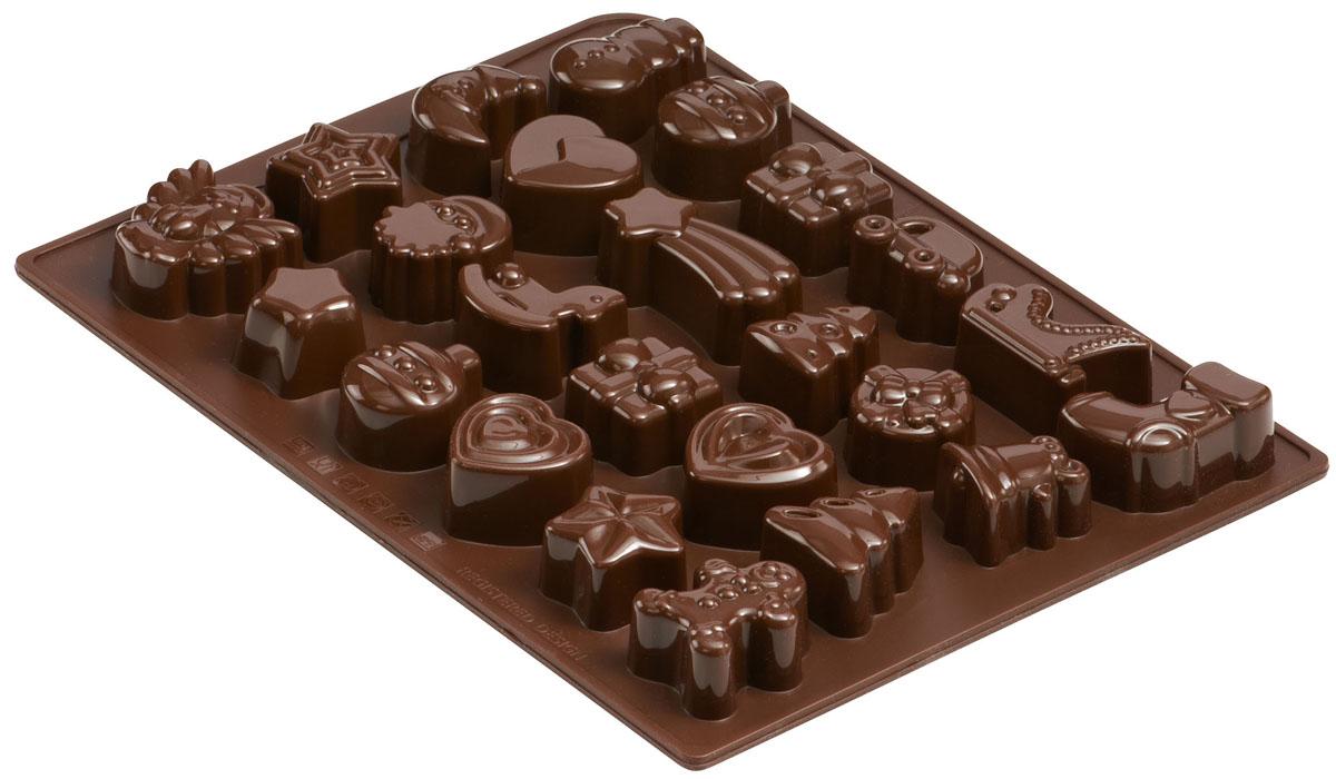 Форма для шоколада и льда Dr.Oetker Confiserie, цвет: коричневый, 24 ячейки. 21912191Форма Dr.Oetker Confiserie выполнена из высококачественного пищевого силикона и предназначена для изготовления шоколада, конфет, мармелада, желе, льда и выпечки. На одном листе расположено 24 ячейки в виде различных новогодних игрушек. Благодаря тому, что форма изготовлена из силикона, готовый десерт вынимать легко и просто. Силиконовые формы выдерживают высокие и низкие температуры (от -40°С до +230°С). Они эластичны, износостойки, легко моются, не горят и не тлеют, не впитывают запахи, не оставляют пятен. Силикон абсолютно безвреден для здоровья.Чтобы достать льдинки, эту форму не нужно держать под теплой водой или использовать нож. Можно мыть в посудомоечной машине.