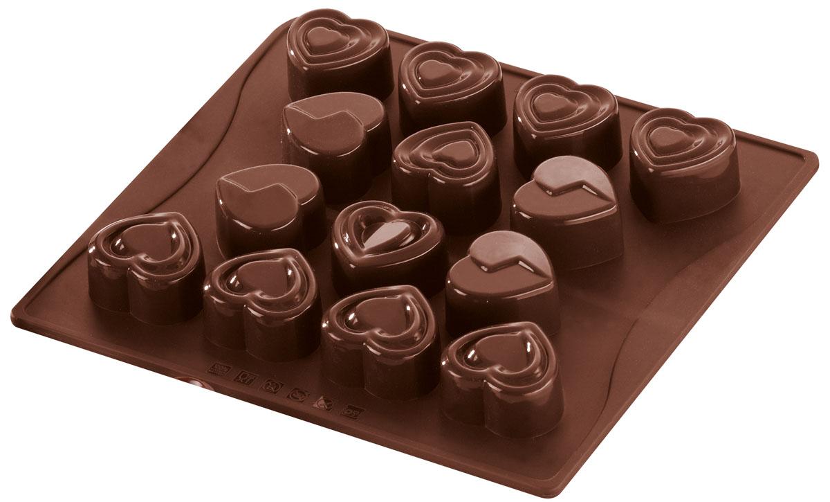 Форма для шоколада и льда Dr.Oetker Confiserie, цвет: коричневый, 14 ячеек. 24982498Форма Dr.Oetker Confiserie выполнена из высококачественного пищевого силикона и предназначена для изготовления шоколада, конфет, мармелада, желе, льда и выпечки. На одном листе расположено 14 ячеек-сердечек разного дизайна. Благодаря тому, что форма изготовлена из силикона, готовый десерт вынимать легко и просто. Силиконовые формы выдерживают высокие и низкие температуры (от -40°С до +230°С). Они эластичны, износостойки, легко моются, не горят и не тлеют, не впитывают запахи, не оставляют пятен. Силикон абсолютно безвреден для здоровья.Чтобы достать льдинки, эту форму не нужно держать под теплой водой или использовать нож. Можно мыть в посудомоечной машине.