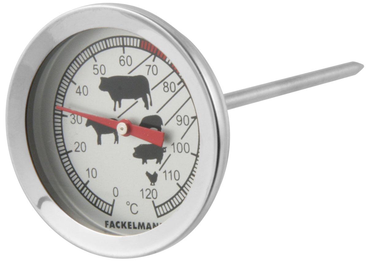 """Термометр для мяса """"Fackelmann"""" придется по душе каждой хозяйке и станет незаменимым аксессуаром на кухне. Больше не придется гадать, прожарилось ли мясо, и обжигать пальцы, определяя стадию его приготовления - стоит лишь воткнуть в самую толстую часть мяса спицу термометра, как вы сразу же узнаете точную температуру продукта. Термометр изготовлен из нержавеющей стали."""