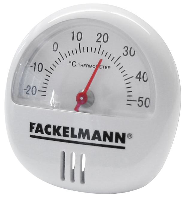 Термометр на магните Fackelmann16375Термометр на магните Fackelmann предназначен для измерения температуры. Корпус выполнен из прочного пластика белого цвета. С задней стороны имеется магнит, который позволяет прикрепить прибор к любой магнитной поверхности, например, к холодильнику. Термометр имеет шкалу от -20°С до +50°С.Материал: пластик.Диаметр термометра: 5,5 см.