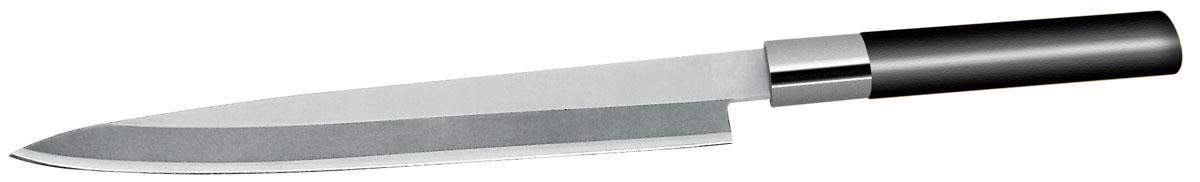 """Нож филейный Nirosta """"Aisa"""" изготовлен из нержавеющей стали. Удобная бакелитовая рукоятка ножа не позволит выскользнуть ему из руки.  Нож идеально шинкует, нарезает и измельчает не только мясо, но и овощи, сыры и другие продукты. Они не прилипают к лезвию и не крошатся.  Нож Nirosta займет достойное место среди аксессуаров на вашей кухне.  Можно использовать в посудомоечной машине с применением моющих средств.   Общая длина ножа: 34,5 см.  Длина лезвия ножа: 21,5 см.  Ширина лезвия: 3 мм."""