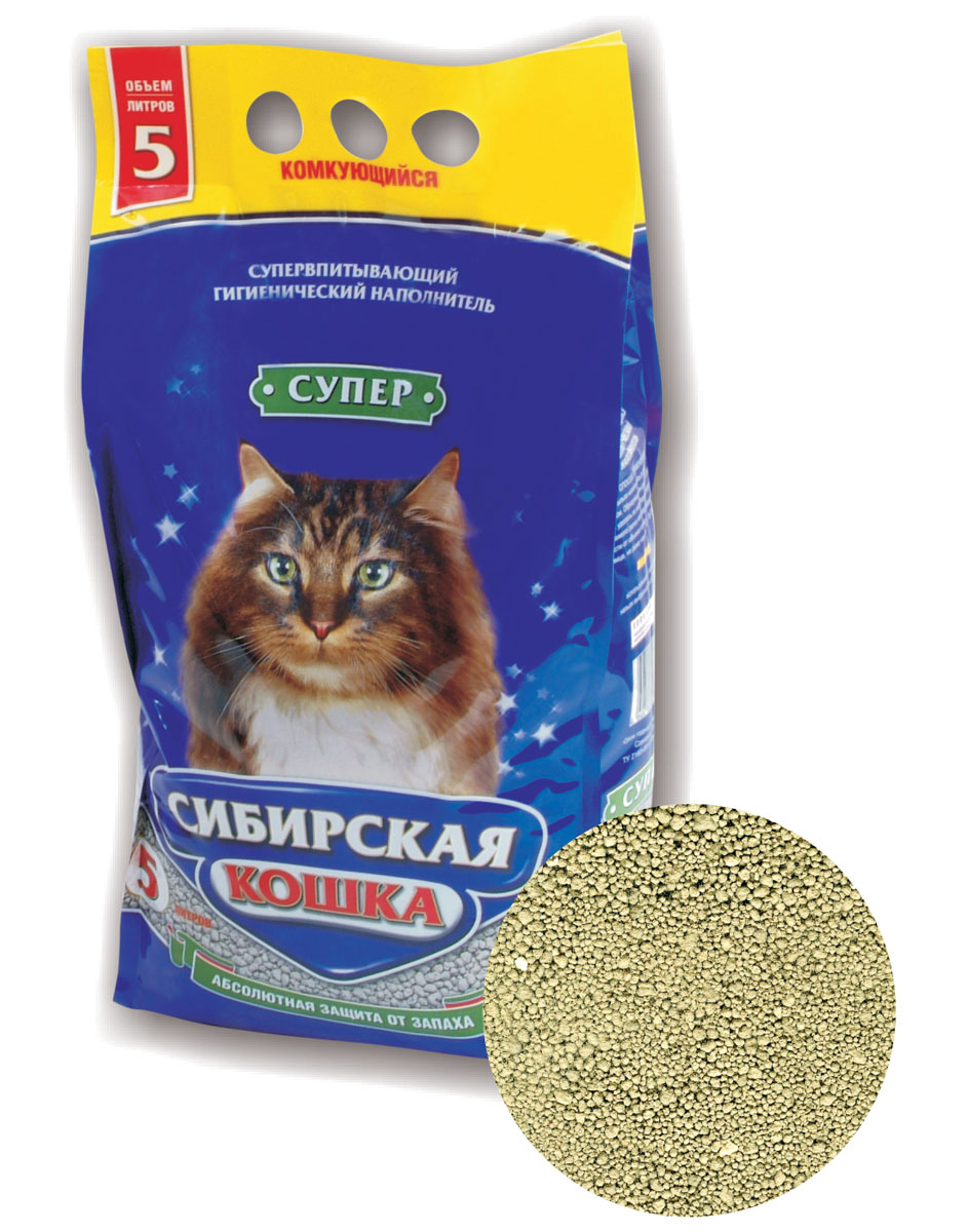Наполнитель для кошачьих туалетов Сибирская Кошка Супер, комкующийся, 5 л0176Наполнитель для кошачьих туалетов Сибирская Кошка Супер - комкующийся гигиенический наполнитель, экологически чистый продукт, который изготавливается на основе природных минералов. Прошел специальную санитарно-термическую обработку, что придало ему удивительную способность впитывать влагу, удерживать запахи и замедлять развитие болезнетворных микробов. Гранулы наполнителя не имеют острых краев, что безопасно для кошачьих лап и оказывает полезное действие на привыкание животного к туалету. Состав: природные минералы. Товар сертифицирован.