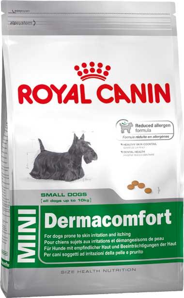 Корм сухой Royal Canin Mini Dermacomfort, для собак мелких пород, при раздражениях и зуде, 800 г310008Сухой корм Royal Canin Mini Dermacomfort - полнорационный сухой корм для собак мелких размеров (вес взрослой собаки до 10 кг) старше 10 месяцев с раздраженной и зудящей кожей. Снижение риска возникновения аллергии.Использование корма Dermacomfort способствует поддержанию здоровья кожи собаки, поскольку в его составе ограничено использование источников белка, которые считаются потенциальными аллергенами у собак. Используемые белки были отобраны по их высокой степени усвояемости. Dermacomfort помогает уменьшить раздражение и зуд кожи.Здоровая шерсть.Питает шерсть благодаря включению в состав корма серосодержащих аминокислот (метионин и цистин), жирных кислот Омега 6 и витамина А.Здоровье зубов.Помогает замедлить образование зубного налета благодаря полифосфату натрия, который связывает кальций, содержащийся в слюне. Состав: рис, пшеничная клейковина, животные жиры, пшеница, кукурузная клейковина, кукуруза, очищенный овес, гидролизат печени птицы, минеральные вещества, соевое масло, свекольный жом, рыбий жир (источник EPA и DHA), льняное семя (источник Омега 3), фруктоолигосахариды, масло огуречника аптечного (источник гамма-линоленовой кислоты), экстракт бархатцев прямостоячих (источник лютеина).Добавки (в 1 кг): витамин А 30500 МЕ, витамин D3 800 МЕ, железо 55 мг, йод 5,5 мг, марганец 71 мг, цинк 214 мг, селен 0,12 мг, триполифосфат натрия 3,5 г, сорбат калия, пропилгаллат, БГА.Содержание питательных веществ: белки 26%, жиры 17%, минеральные вещества 5,4%, клетчатка пищевая 1,4%, жирные кислоты Омега 3 10,5 г, жирные кислоты EPA и DHA 4,2 г, медь 15 мг.Товар сертифицирован.
