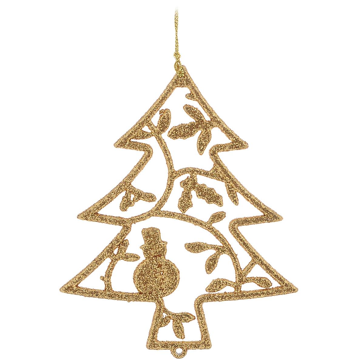 Новогоднее подвесное украшение Елка, цвет: золотистый, 10,5 см х 12 см30579Новогоднее украшение Елка отлично подойдет для декорации вашего дома и новогодней ели. Игрушка выполнена из пластика в виде узорной новогодней елочки. Украшение декорировано блестками и оснащено специальной текстильной петелькой для подвешивания. Елочная игрушка - символ Нового года. Она несет в себе волшебство и красоту праздника. Создайте в своем доме атмосферу веселья и радости, украшая всей семьей новогоднюю елку нарядными игрушками, которые будут из года в год накапливать теплоту воспоминаний.