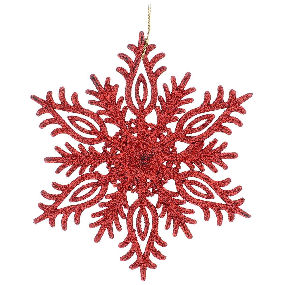 Новогоднее подвесное украшение Снежинка, цвет: красный, 14,5 х 14,5 см34993Оригинальное новогоднее украшение из пластика прекрасно подойдет для праздничного декора дома и новогодней ели. Изделие крепится на елку с помощью металлического зажима.