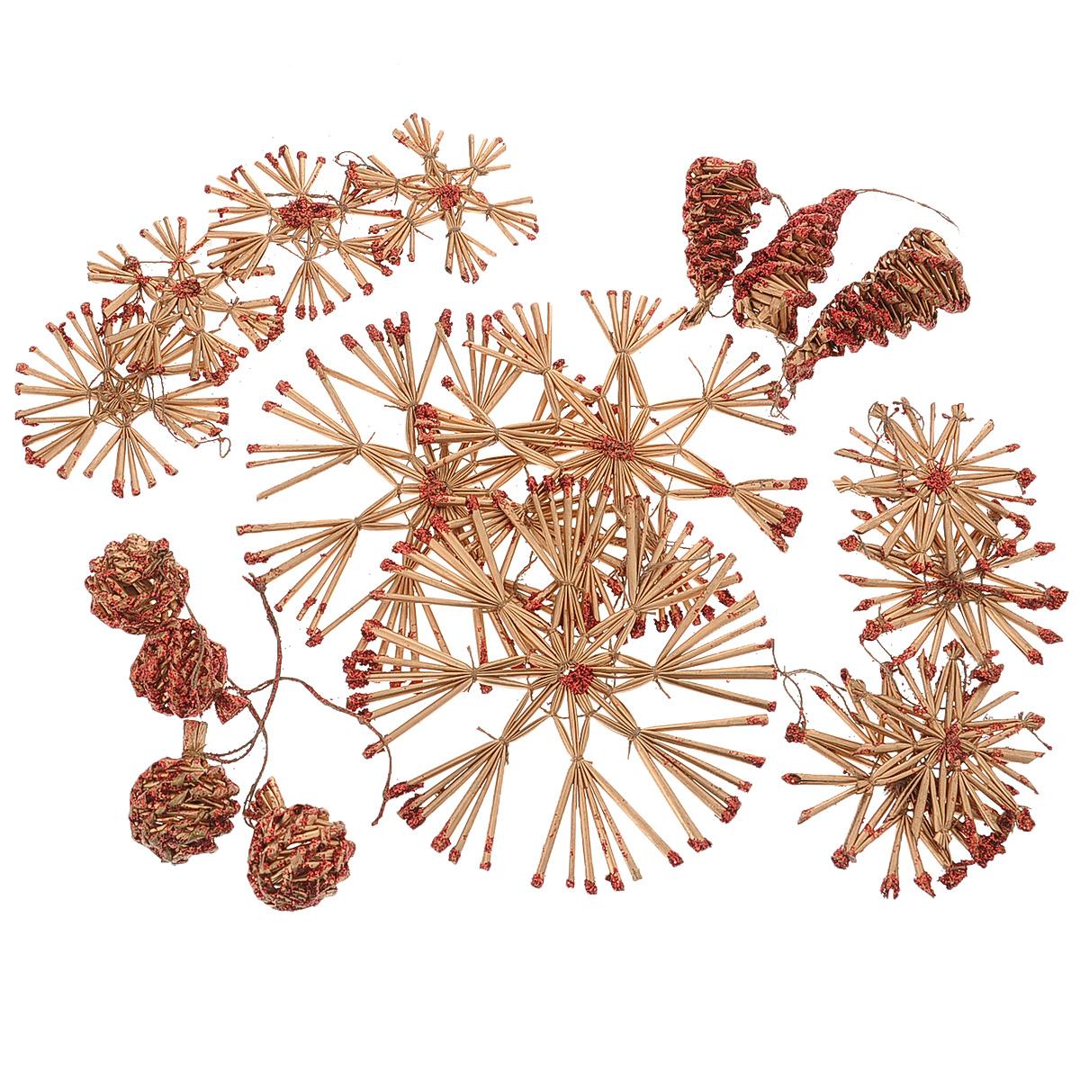 Набор новогодних подвесных украшений Снежинка, цвет: золотистый, красный, 18 предметов. 3468334683Набор новогодних подвесных украшений Снежинка изготовленный из соломки, украсит интерьер вашего дома или офиса в преддверии Нового года. Оригинальный дизайн и красочное исполнение создадут праздничное настроение. Набор состоит из фигурок снежинок, елок и шишек. Предметы набора покрыты лаком и украшены блестками. Украшения из натуральной соломы сейчас находятся на пике моды. Но мало кто знает, что на самом деле модное веяние является ничем иным, как хорошо забытым атрибутом рождественских праздников стран раннехристианской Европы. Солома напоминала о яслях, в которых лежал младенец Иисус - из нее мастерили праздничных куколок, короны, пирамиды и просто рассыпали по полу.Коллекция декоративных украшений из серии Magic Time принесет в ваш дом ни с чем не сравнимое ощущение волшебства!