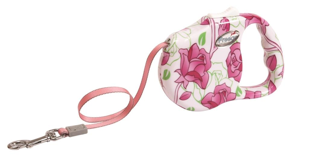 Поводок-рулетка Freego Розовый цветок для собак до 23 кг, размер M, цвет: белый, розовый, зеленый, 3 м поводки triol поводок рулетка
