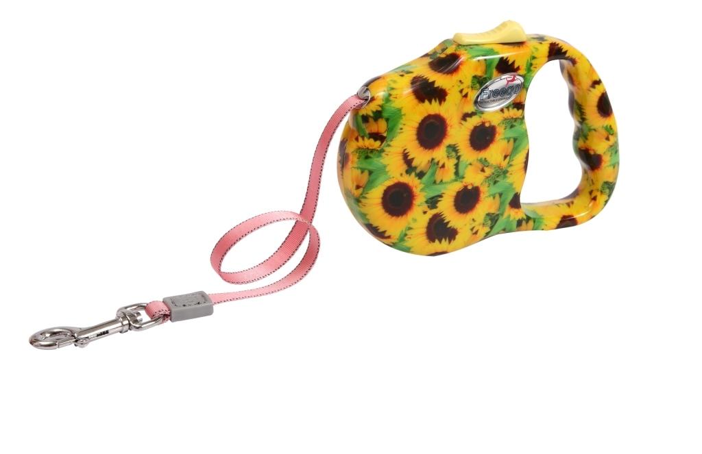 Поводок-рулетка Freego Подсолнух для собак до 12 кг, размер S, цвет: желтый, зеленый, коричневый, 3 м поводки triol поводок рулетка