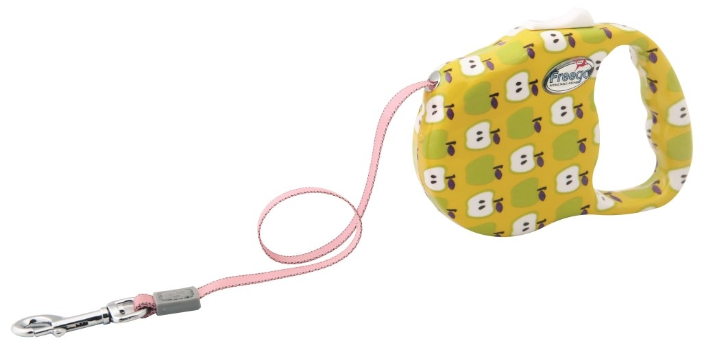 Поводок-рулетка Freego Яблоко для собак до 23 кг, размер М, цвет: белый, желтый, зеленый, 3 м поводки triol поводок рулетка