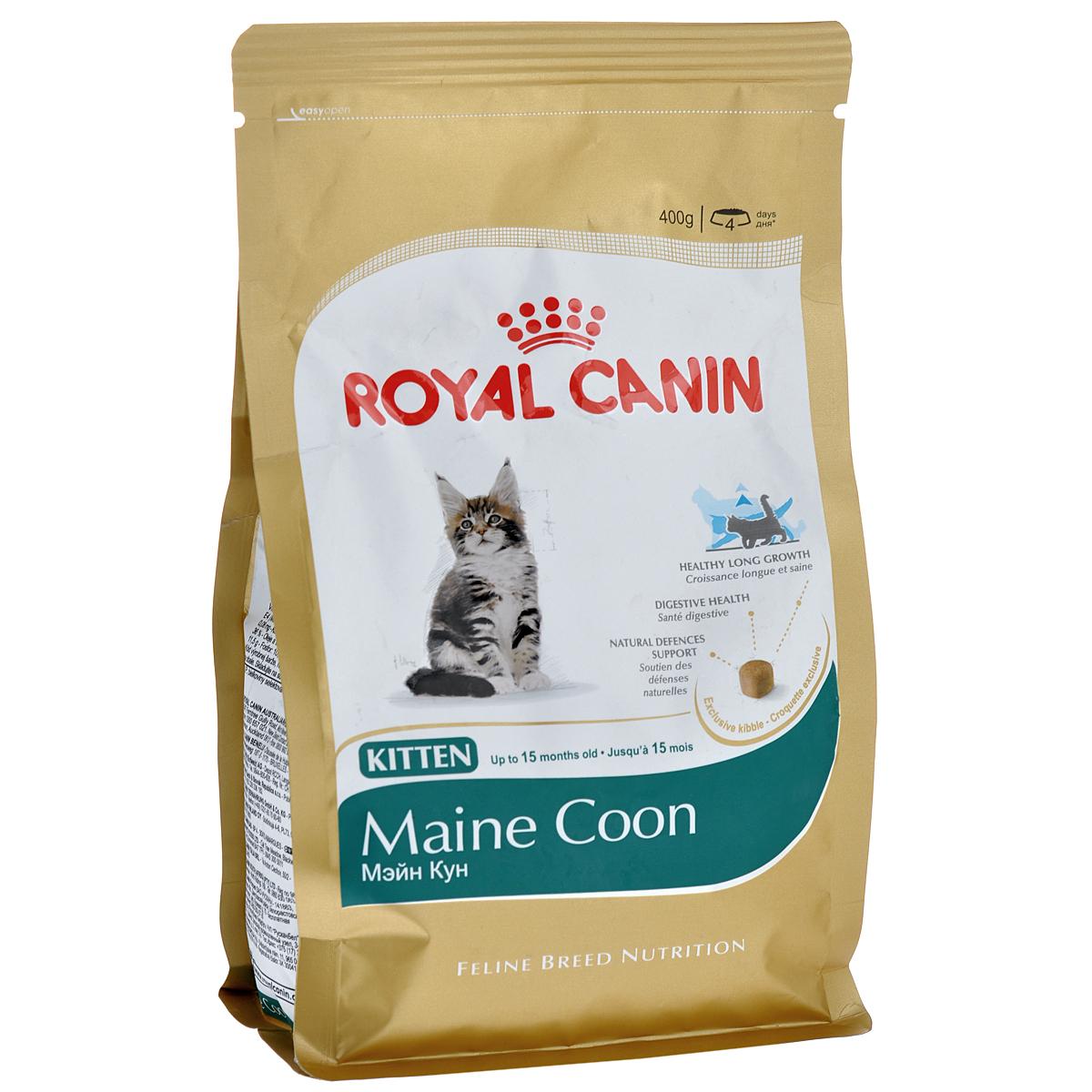 Корм сухой Royal Canin Maine Coon Kitten, для котят породы мейн-кун в возрасте от 3 до 15 месяцев, 400 г941Сухой корм Royal Canin Maine Coon Kitten - полнорационный корм для котят породы мейн-кун в возрасте от 3 до 15 месяцев.Фаза роста котят мейн-куна в силу их уникального экстерьера более продолжительна, чем у кошек других пород. Удивительный факт: трехмесячный мейн-кун весит около 2 кг — почти вдвое больше, чем котята других пород в этом возрасте! Длительный период роста.В силу своей особой комплекции котенок породы мейн-кун достигает зрелости только к 15 месяцам или даже позже. Длительный период роста означает, что диета для котят должна отвечать их специфическим потребностям в энергии: это обеспечит гармоничное и сбалансированное развитие. Для того чтобы обеспечить максимально сбалансированное развитие, следует заказать онлайн специальный корм, подходящий для этой породы.Чемпион по весу среди котят.Уже очень скоро котенок мейн-куна опережает по весу своих сверстников — представителей других пород кошек. Постепенно формируются массивные кости и мощные мышцы. Особо крупные самцы породы мейн-кун весят около 10 кг! Необыкновенно крупная мощная челюсть.Уже с раннего возраста котят мейн-куна отличает характерная для породы челюсть. Для правильного питания требуются крокеты соответствующего размера и формы.Maine Coon Kitten легко купить в магазинах наших партнеров. Выбирая Main Coon Kitten , вы получаете сбалансированный корм для котят мейн-кунов. Поддержание здоровья в период длительного роста.Котятам породы мейн-кун свойствен долгий период роста. В течение этого времени им необходим корм с особым нутриентным профилем и оптимальной калорийностью. Продукт MAINE COON KITTEN позволяет поддерживать здоровье костей и суставов котят благодаря оптимизированному содержанию белков и сбалансированному составу минеральных веществ и витаминов (кальция, фосфора, витамина D). Здоровье пищеварительной системы.Продукт способствует поддержанию баланса кишечной флоры и кишечной перено