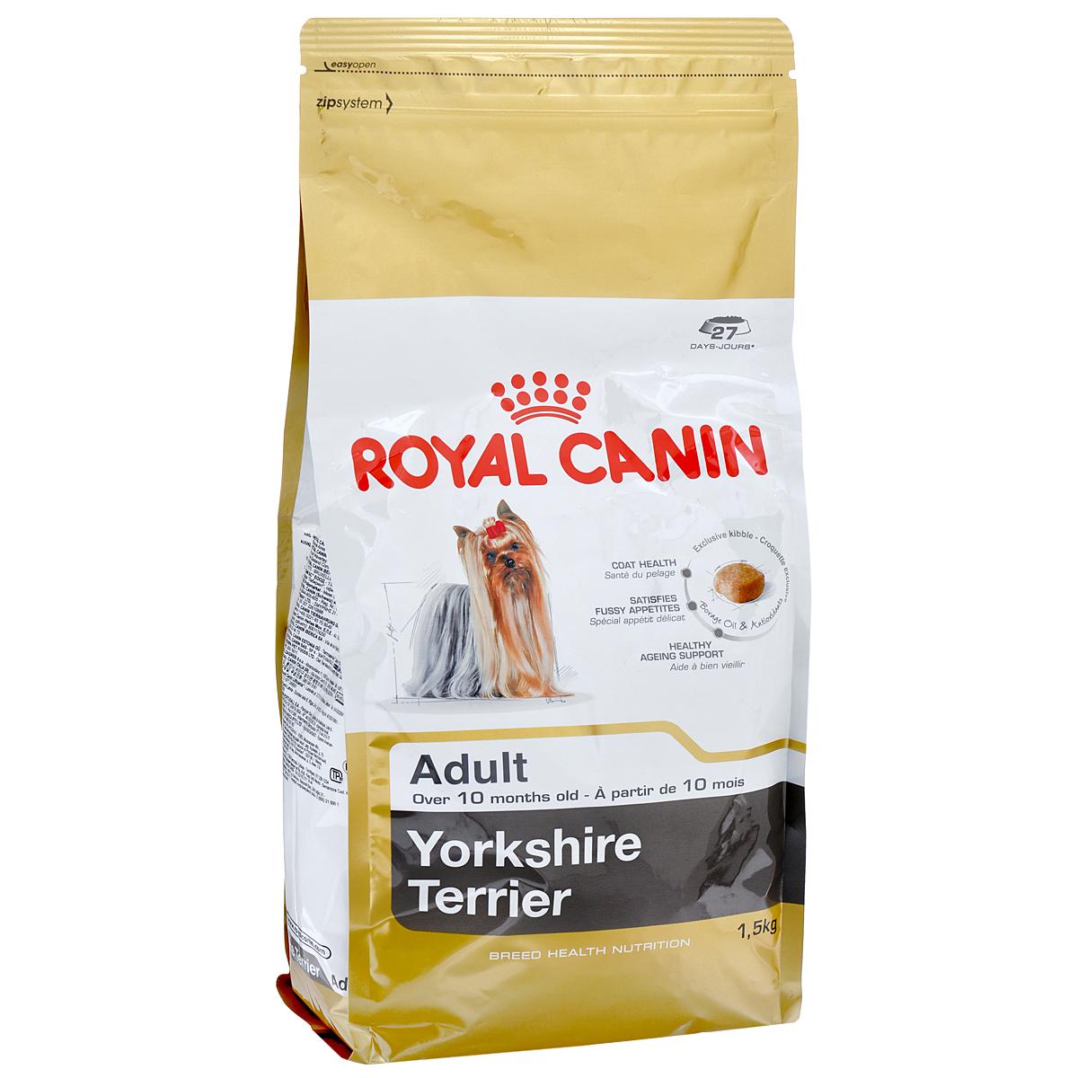 Корм сухой Royal Canin Yorkshire Terrier Adult, для собак породы йоркширский терьер в возрасте от 10 месяцев, 1,5 кг6857Корм сухой Royal Canin Yorkshire Terrier Adult - полнорационный корм для собак породы йоркширский терьер в возрасте от 10 месяцев.Йоркширский терьер — это сказочное создание, которое очаровывает с первой минуты знакомства с ним. Тоненькие, хрупкие и изящные йорки в силу своей физиологии нуждаются в максимальном поступлении в организм аминокислот, необходимых для развития шерсти и ее быстрого роста. Многие корма для йорков имеют крокеты слишком крупного размера, тогда как продукция Royal Canin Yorkshire Terrier Adult разработана специально для небольших челюстей этих собак. Здоровая шерсть.Эта эксклюзивная формула поддерживает здоровье и красоту шерсти йоркширского терьера. Корм обогащен жирными кислотами Омега-3 (EPA и DHA) и Омега-6, маслом бурачника и биотином. Вкусовая привлекательность.Благодаря высокой вкусовой привлекательности корм способен удовлетворить потребностидаже самых привередливых питомцев. Долголетие.Особый комплекс с питательными веществами помогает сохранить здоровье собаки в зрелом возрасте и способствует долголетию.Профилактика образования зубного камня.Благодаря хелаторам кальция и специально подобранной текстуре крокет, которая оказывает чистящее воздействие, корм помогает ограничить образование зубного камня. Состав: дегидратированные белки животного происхождения (птица), рис, кукурузная мука, животные жиры, изолят растительных белков, свекольный жом, гидролизат белков животного происхождения, минеральные вещества, соевое масло, рыбий жир, дрожжи, фруктоолигосахариды, гидролизат дрожжей (источник мaннановых олигосахаридов), масло огуречника аптечного (0,1 %), экстракт бархатцев прямостоячих (источник лютеина).Добавки (в 1 кг): йод — 5,2 мг,селен — 0,28 мг,медь — 15 мг,железо — 166 мг,марганец — 73 мг,цинк — 218 мг,витамин A — 31000 МЕ,витамин D3 — 800 МЕ,витамин E — 600 мг,витамин C — 300 мг,витамин B1 — 27 мг,витамин B2 — 