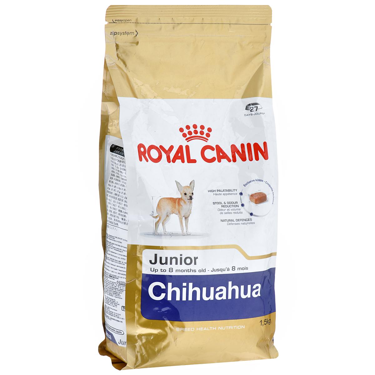 Корм сухой Royal Canin Chihuahua Junior, для щенков породы чихуахуа в возрасте до 8 месяцев, 1,5 кг8102Сухой корм Royal Canin Chihuahua Junior - полнорационное питание для щенков породы чихуахуа в возрасте до 8 месяцев.Щенок чихуахуа нуждается в особенной заботе из-за своих миниатюрных размеров и природной хрупкости. Чихуахуа является самой маленькой породой собак. Они очень предрасположены к образованию зубного камня, таким образом гигиена зубов крайне важна для собак этой породы. Очень важно выбрать корм, крокеты которого имеют соответствующую форму. Chihuahua Junior можно заказать и купить онлайн или в специальных магазинах.Высокая вкусовая привлекательность.Благодаря отборным натуральным ароматам и специально адаптированным крокетам мелкого размера и текстуры, корм обладает максимальной аппетитностью даже для самых маленьких и привередливых щенков чихуахуа. Ослабление запаха стула.Корм для щенков чихуахуа снижает объем и ослабляет неприятный запах экскрементов. Поддержание естественных механизмов защиты.Комплекс антиоксидантов, обладающих синергичным действием (лютеин, таурин, витамины С и Е), укрепляет иммунную защиту щенка. Манноолигосахариды стимулируют производство антител. Специально для миниатюрных челюстей.Крокеты корма идеально подходят для крошечных челюстей щенка чихуахуа.Состав: дегидратированные белки животного происхождения (птица), рис, животные жиры, кукуруза, изолят растительных белков, свекольный жом, гидролизат белков животного происхождения, минеральные вещества, соевое масло, рыбий жир, растительная клетчатка, фруктоолигосахариды, гидролизат дрожжей (источник мaннановых олигосахаридов), экстракт бархатцев прямостоячих (источник лютеина).Добавки (в 1 кг): протеин — 30%,жир — 20%,клетчатка — 2%, таурин — 2000 мг%, кальций — 1,15%, натрий — 0,35%, магний — 0,07%, хлор — 0,5%, калий — 0,7%, йод — 5,6 мг, селен — 0,35 мг, медь — 22 мг, железо — 221 мг, марганец — 76 мг, цинк — 229 мг, витамин A — 29000 МЕ,витамин D3 — 800 МЕ, витамин E — 600 мг, в