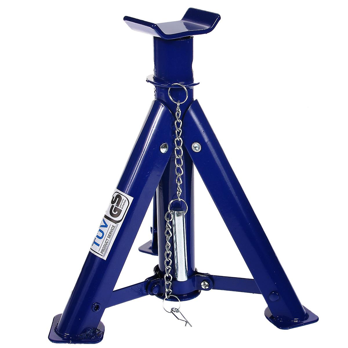 Подставка для автомобиля FIT, складная, 2 кг64590Подставка для автомобиля FIT, изготовленная из инструментальной стали, применяется как средство дополнительной страховки при поднятии автомобиля домкратом. 3 складные ножки для экономии места, удобства перевозки и хранения.Материал: инструментальная сталь. Максимальная нагрузка: 2 т. Высота подъема: 275-365 мм.