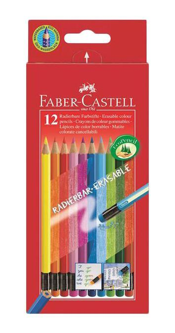 Цветные карандаши COLOUR PENCILS с ластиками,с местом для имени, набор цветов, в картонной коробке, 12 шт.116612 Faber Castell 116612 - это цветные карандаши, изготовленные по специальной технологии SV, благодаря которой предотвращается поломка и крошение грифеля внутри корпуса. Faber Castell 116612 выполнены из высококачественной древесины, гарантирующей легкость затачивания при помощи стандартных точилок. Каждый карандаш имеет ластик, соответствующий его цвету и место для написания имени вашего ребенка. Вид карандаша: цветной. Особенности: С ластиком. Материал: дерево.
