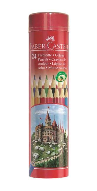 Цветные карандаши COLOUR PENCILS, набор цветов, в тубе, 24 шт.115827 Faber Castell 115827 - это цветные карандаши, изготовленные по специальной технологии SV, благодаря которой предотвращается поломка и крошение грифеля внутри корпуса. Faber Castell 115827 выполнены из высококачественной древесины, гарантирующей легкость затачивания при помощи стандартных точилок. Вид карандаша: цветной. Материал: дерево.