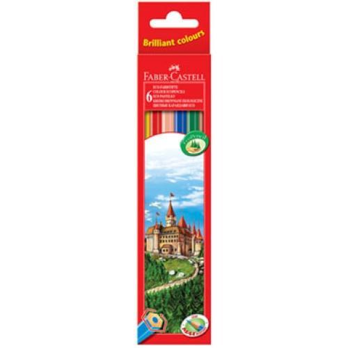 Цветные карандаши ECO ЗАМОК, набор цветов, в картонной коробке, 6 шт.120106Вид карандаша: цветной.Материал: дерево.