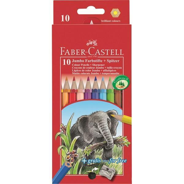 Цветные карандаши JUMBO с точилкой, набор цветов, в картонной коробке, 10 шт.