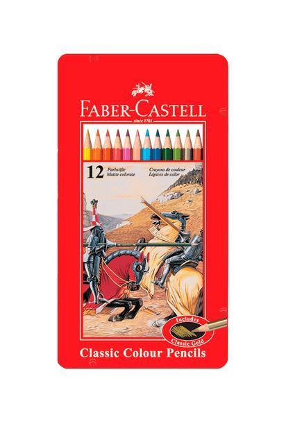 Цветные карандашиРЫЦАРЬ, набор цветов, в металлической коробке, 12 шт.115844 Faber Castell Knight 115844 - цветные карандаши со специальной шестигранной формой и яркими, насыщенными цветами. Поломка грифеля предотвращается при помощи технологии вклеивания . Металлическая коробка упакована в специальную пленку, тем самым находясь под защитой от различных повреждений. Вид карандаша: цветной. Материал: дерево.