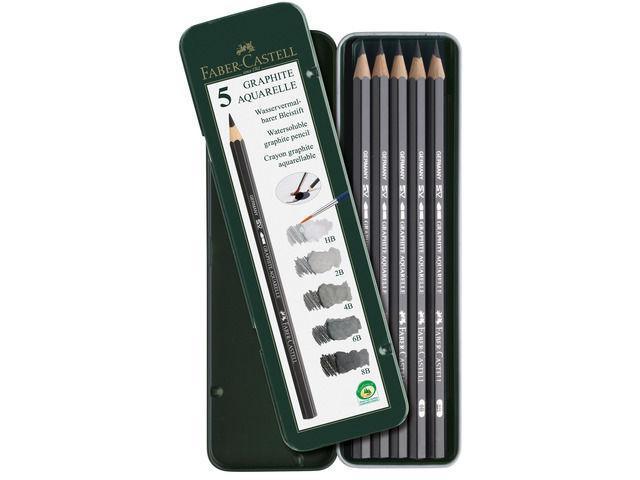 Чернографитовые акварельные карандаши, HB, 2B, 4B, 6B, 8B, в металлической коробке, 5 шт.117805Вид карандаша: Акварельный.Твердость грифеля: HB, 2B, 4B, 6B, 8B.Материал: дерево.