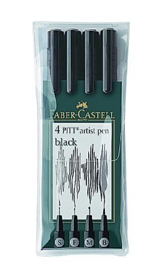 Капиллярные ручки PITT® ARTIST PEN, набор типов, черный, в футляре, 4 шт. faber castell капиллярные ручки pitt artist pen soft brush 8 шт