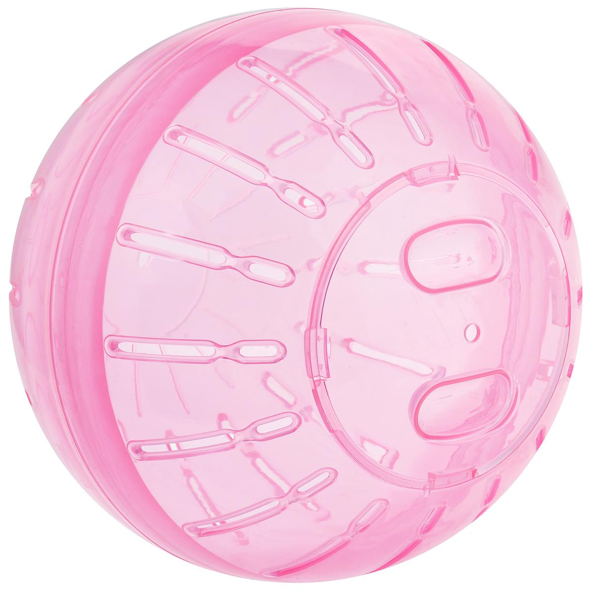 Игрушка для грызунов Triol Шар прогулочный, цвет: розовый, диаметр 19 смКл-5212Шар прогулочный Triol - это игрушка для грызунов, изготовленная из нетоксичного высококачественного пластика. Шар легко моется. Устойчивая конструкция с защелкивающимися дверцами обеспечит безопасность и предохранит вашего питомца от побега. Большие вентиляционные отверстия обеспечивают хорошую циркуляцию воздуха, а специально разработанные выступы для лап - удобство при передвижении. Прогулка в таком шаре обеспечит грызуну нагрузку, а значит, поможет поддержать хорошую физическую форму. Чтобы правильно подобрать шар, следует измерить длину животного: диаметр шара должен быть чуть больше, чем длина вашего питомца.Диаметр шара: 19 см.