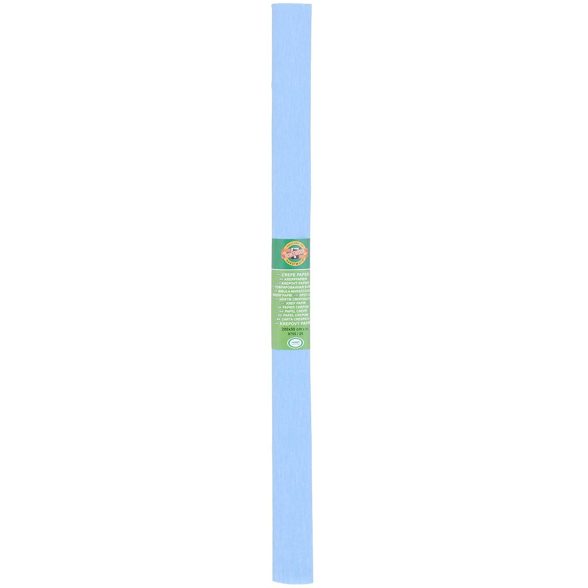 Бумага гофрированная Koh-I-Noor, цвет: голубой, 50 см x 2 м9755/25Гофрированная бумага Koh-I-Noor - прекрасный материал для декорирования, изготовления эффектной упаковки и различных поделок. Бумага прекрасно держит форму, не пачкает руки, отлично крепится и замечательно подходит для изготовления праздничной упаковки для цветов.