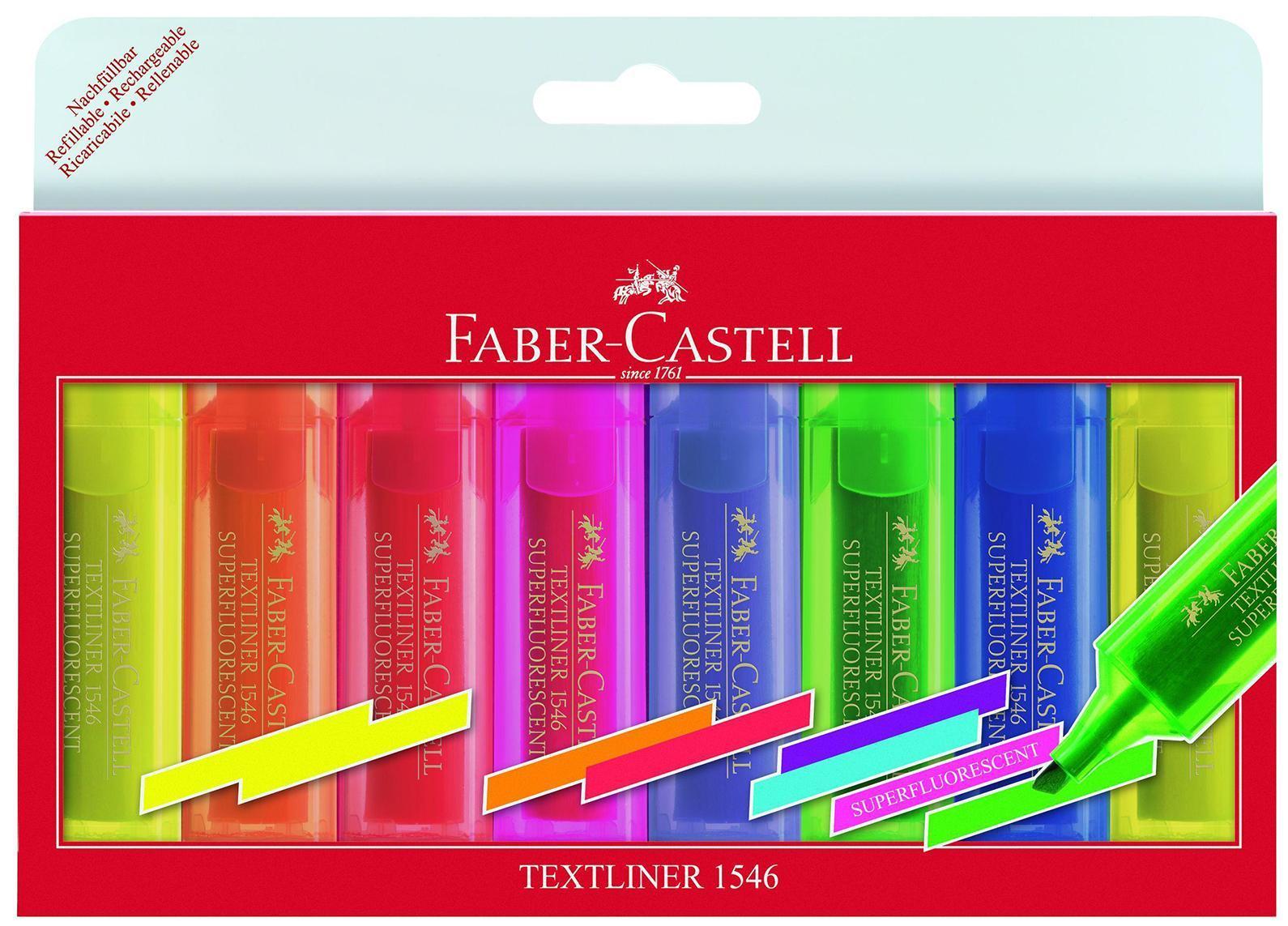 Текстовыделитель 1546, флуоресцентный, набор цветов, в футляре, 8 шт., Faber-Castell