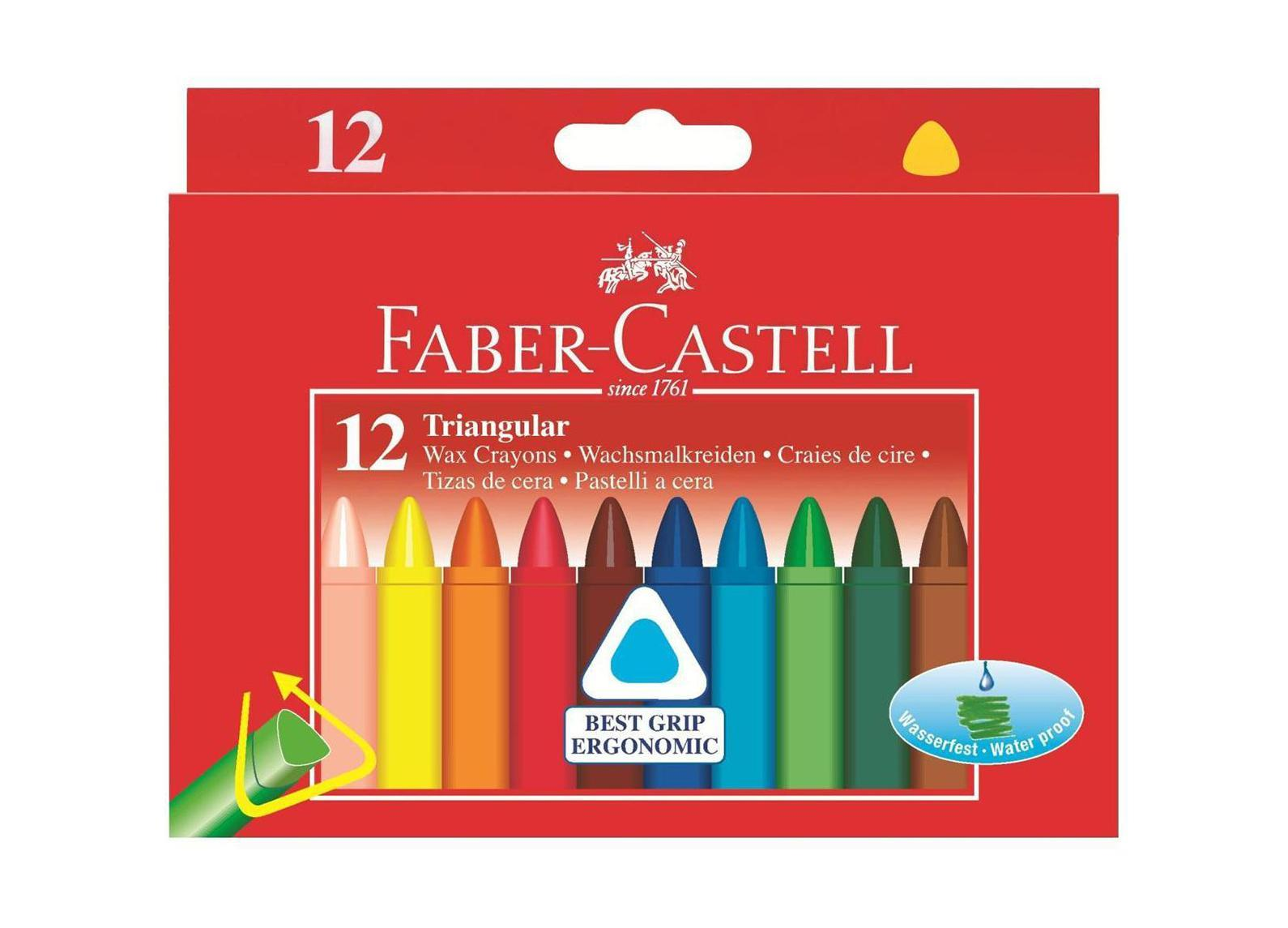 Трехгранные восковые карандаши TRIANGULAR, набор цветов, в картонной коробке, 12 шт. карандаши восковые мелки пастель мульти пульти карандаши цветные трехгранные енот в испании 18 цветов