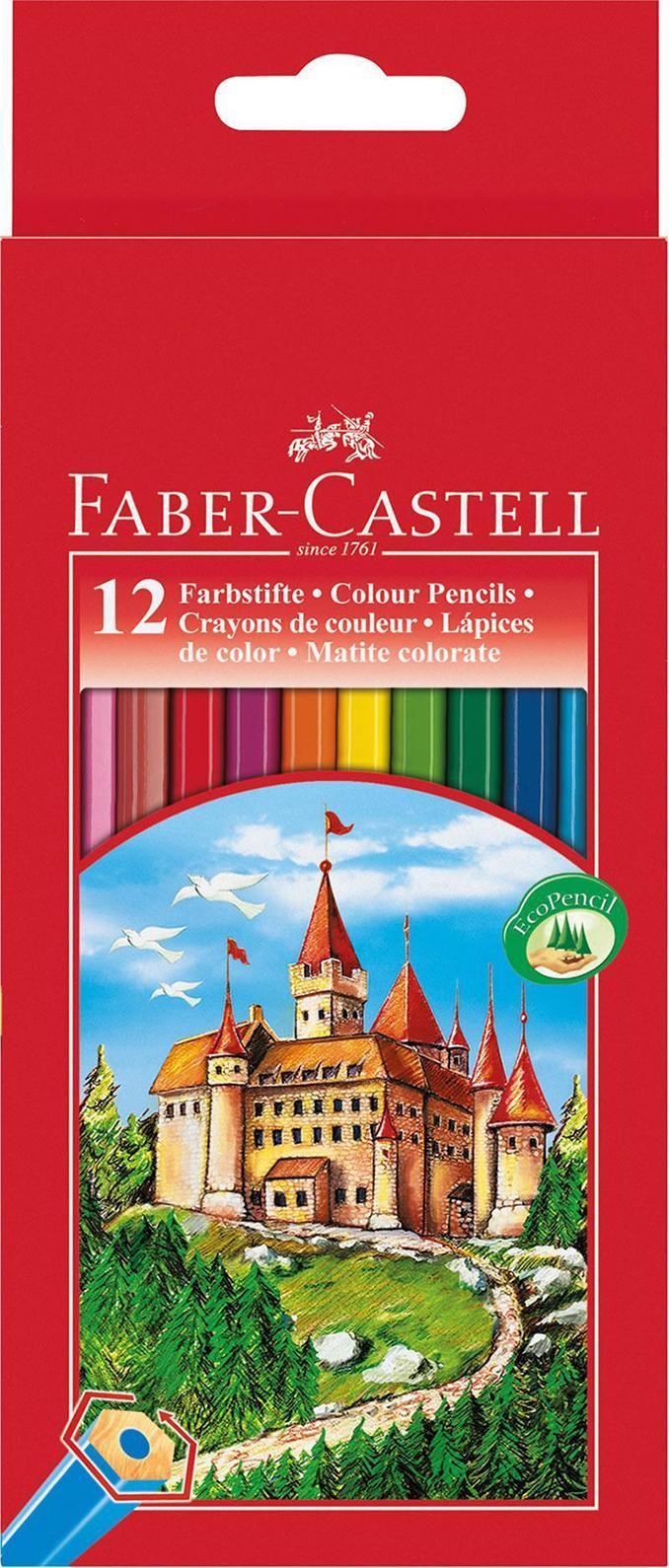 Цветные карандаши ЗАМОК, набор цветов, в картонной коробке, 12 шт.111212Вид карандаша: цветной.Материал: дерево.