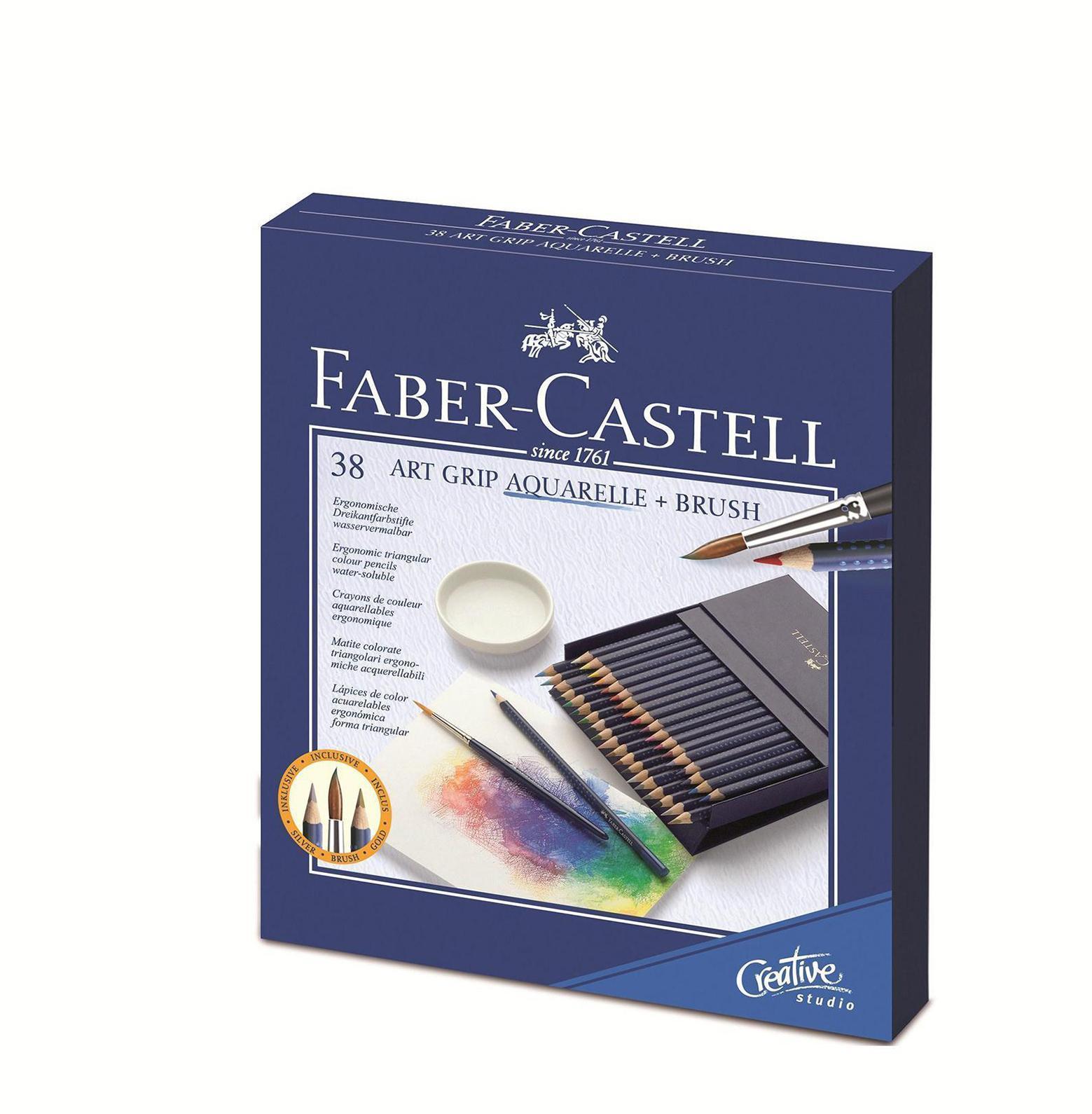Акварельные карандаши ART GRIP AQUARELLE с кисточкой, набор цветов, в студийной (кожзам) коробке , 38 шт.114238Вид карандаша: Акварельный.Материал: дерево.