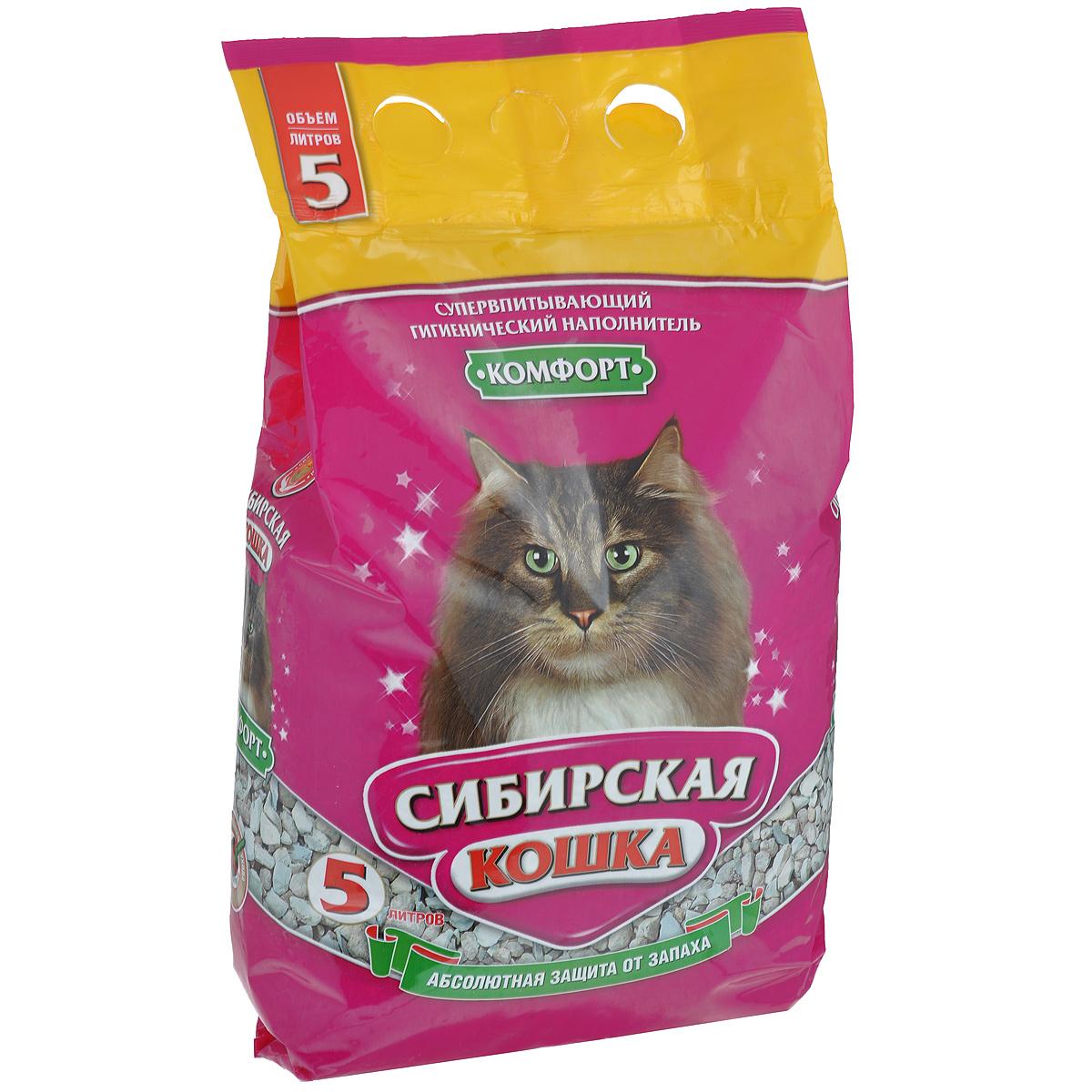 Наполнитель для кошачьих туалетов Сибирская Кошка Комфорт, 5 л наполнитель для кошачьих туалетов sepicat fresh комкующийся облегченный классический 10 л