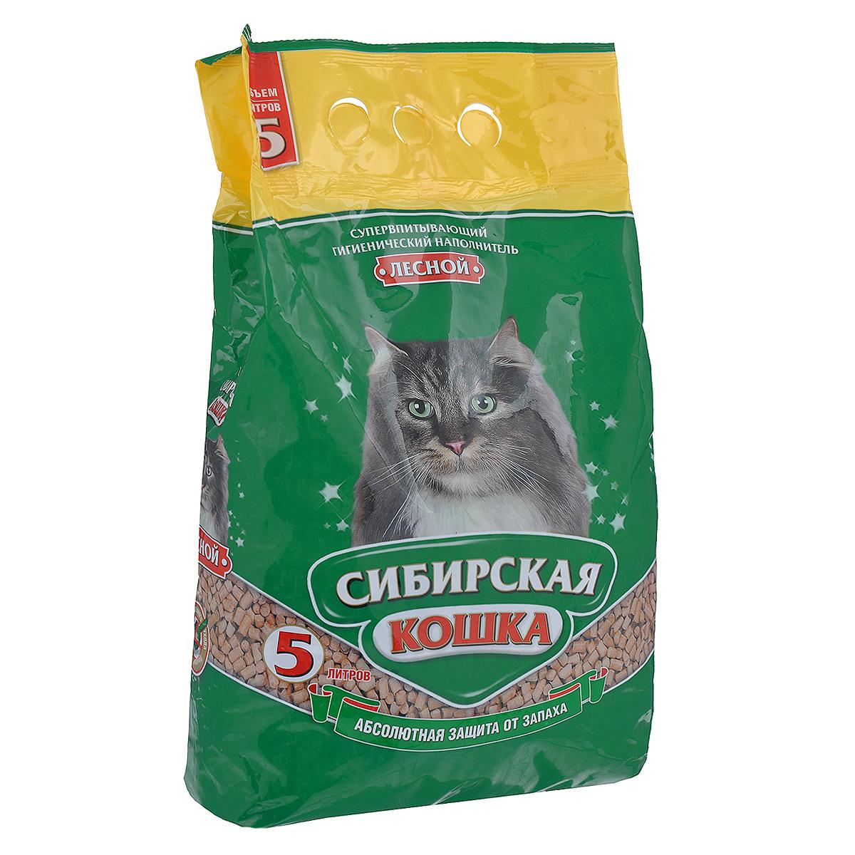 """Наполнитель для кошачьих туалетов Сибирская Кошка """"Лесной"""", древесный, 5 л"""