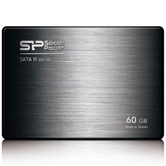 Silicon Power Velox V60 60GB SSD накопительSP060GBSS3V60S25Твердотельный накопитель Silicon Power Velox V60 с контроллером SandForce второго поколения.Значительное повышение производительности SATA III:Оснащенный новейшим контроллером SandForce, Velox V60 демонстрирует потенциал интерфейса SATA III 6 Гбит/с и обладает скоростью чтения до 550 МБ/с и скоростью записи 500 МБ/с. Новый Velox V60 быстрее других SSD и HDD. Velox V60 способен продемонстрировать более высокую производительность по сравнению с жесткими дисками; для запуска компьютера и приложений потребуется всего несколько секунд.Повышение стабильности и продление срока службы:Velox V60 является более надежным и стабильным по сравнению с жесткими дисками. Отсутствие движущихся частей делает его устойчивым к ударам и вибрациям. Весом менее 64 грамм, Velox V60 является одним из самых легких дисков, доступных на рынке. Твердотельные накопители не нагреваются и отличаются бесшумной работой, что делает их идеальным решением для ноутбуков.Поддерживает команду TRIM и технологию Garbage CollectionПоддерживает NCQ и RAIDОснащен DureWrite и технологией выравнивания нагрузки между блоками флеш-памяти для продления срока службыТехнология ECC для гарантии надежности передачи данныхВстроенная система мониторинга S.M.A.R.T.Низкое энергопотреблениеУстойчивость к ударам и вибрациямФлэш-память: Синхронная 24-нм Toggle Mode NANDКонтроллер: SandForce SF-2281Скорость произвольной записи: до 80 000 IOPSТест на устойчивость к вибрации: 20GТест на устойчивость к ударам: 1500GВ комплекте адаптер для установки в отсек 3,5