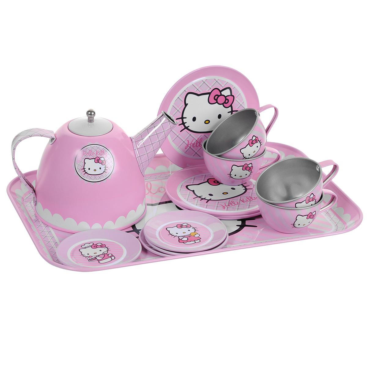 Smoby Набор посудки Hello Kitty, 14 предметов smoby стульчик сидение для ванной cotoons цвет розовый